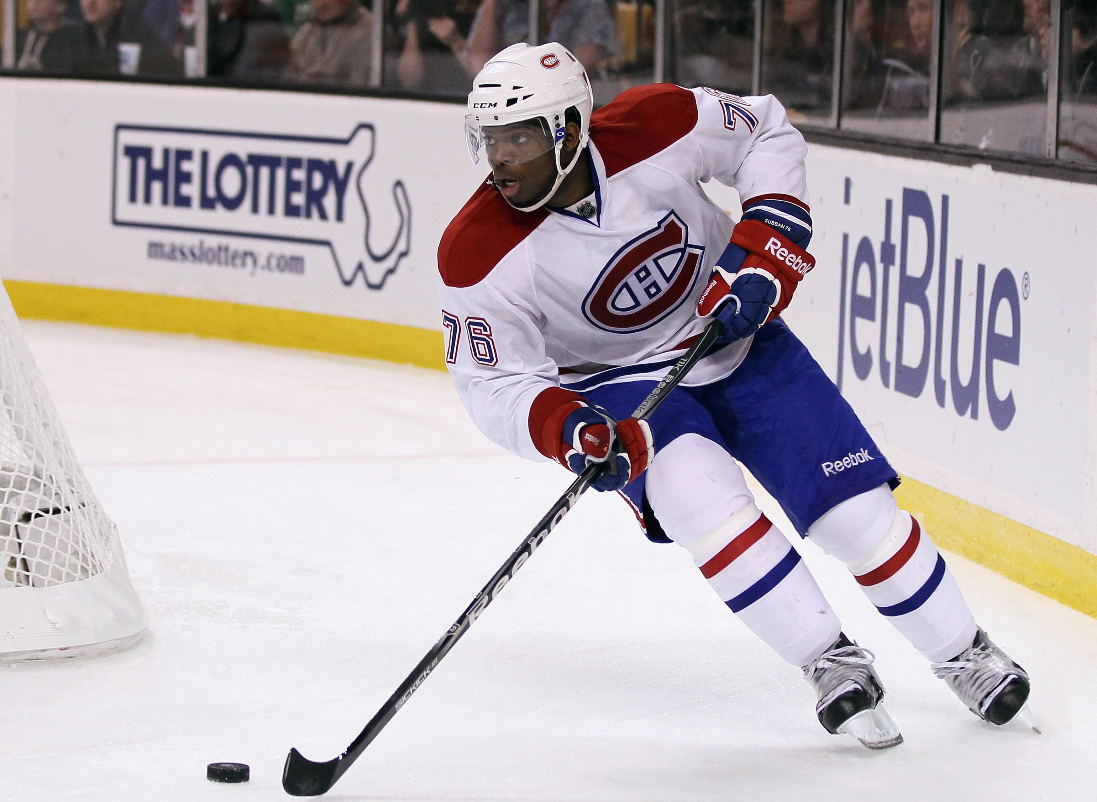 BOSTON, MA - APRIL 16:  P.K. Subban #76 of the Montreal Canadiens takes the puck against the Boston Bruins  in Game Two of the Eastern Conference Quarterfinals during the 2011 NHL Stanley Cup Playoffs at TD Garden on April 16, 2011 in Boston, Massachusett