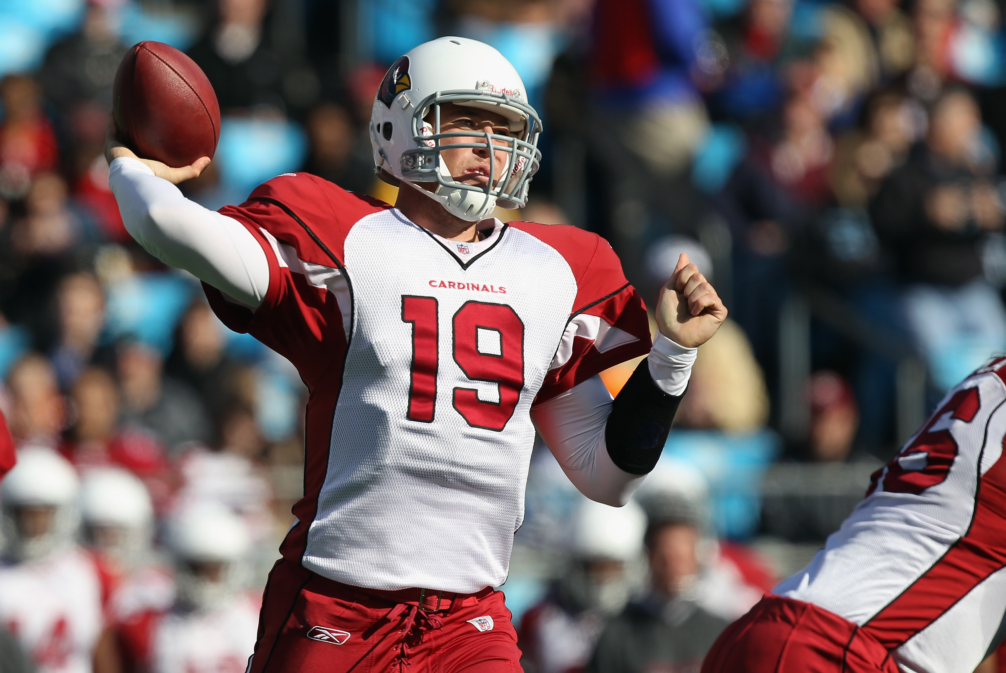 CHARLOTTE, NC - DECEMBER 19:  John Skelton #19 of the Arizona Cardinals drops back to throw a pass against the Carolina Panthers during their game at Bank of America Stadium on December 19, 2010 in Charlotte, North Carolina.  (Photo by Streeter Lecka/Gett