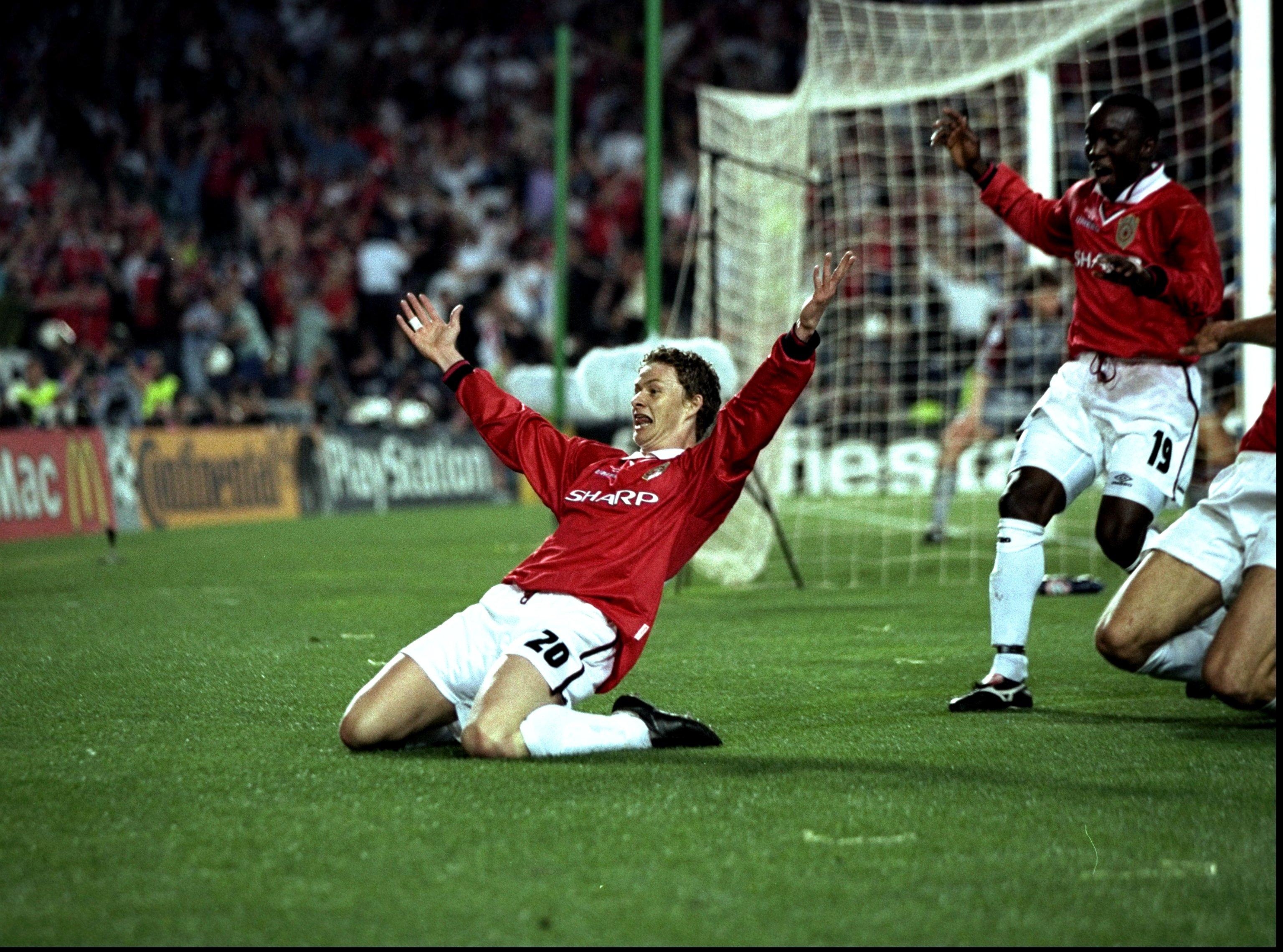 Super sub Ole Gunnar Solskjaer celebrates the goal that won Manchester United their second European Cup