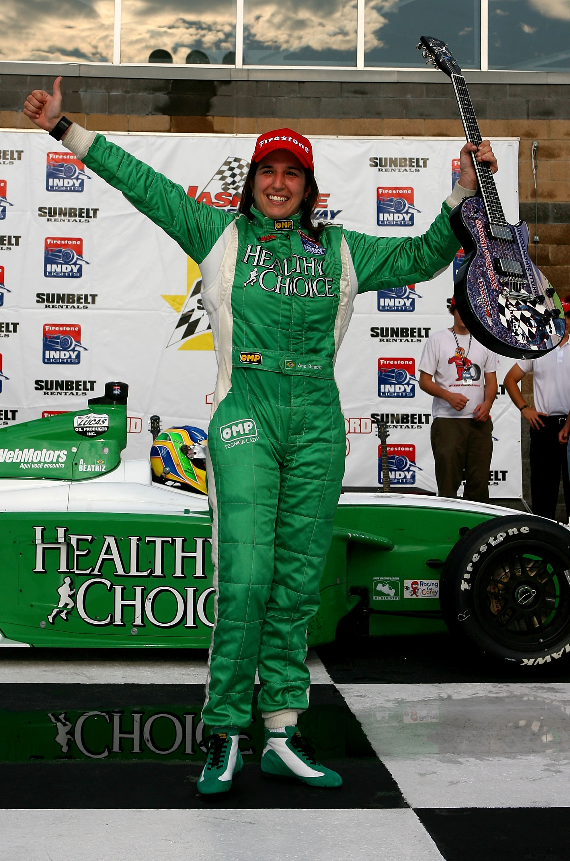 Ana Beatriz is a very happy driver after winning an Indy Lights race in 2008.