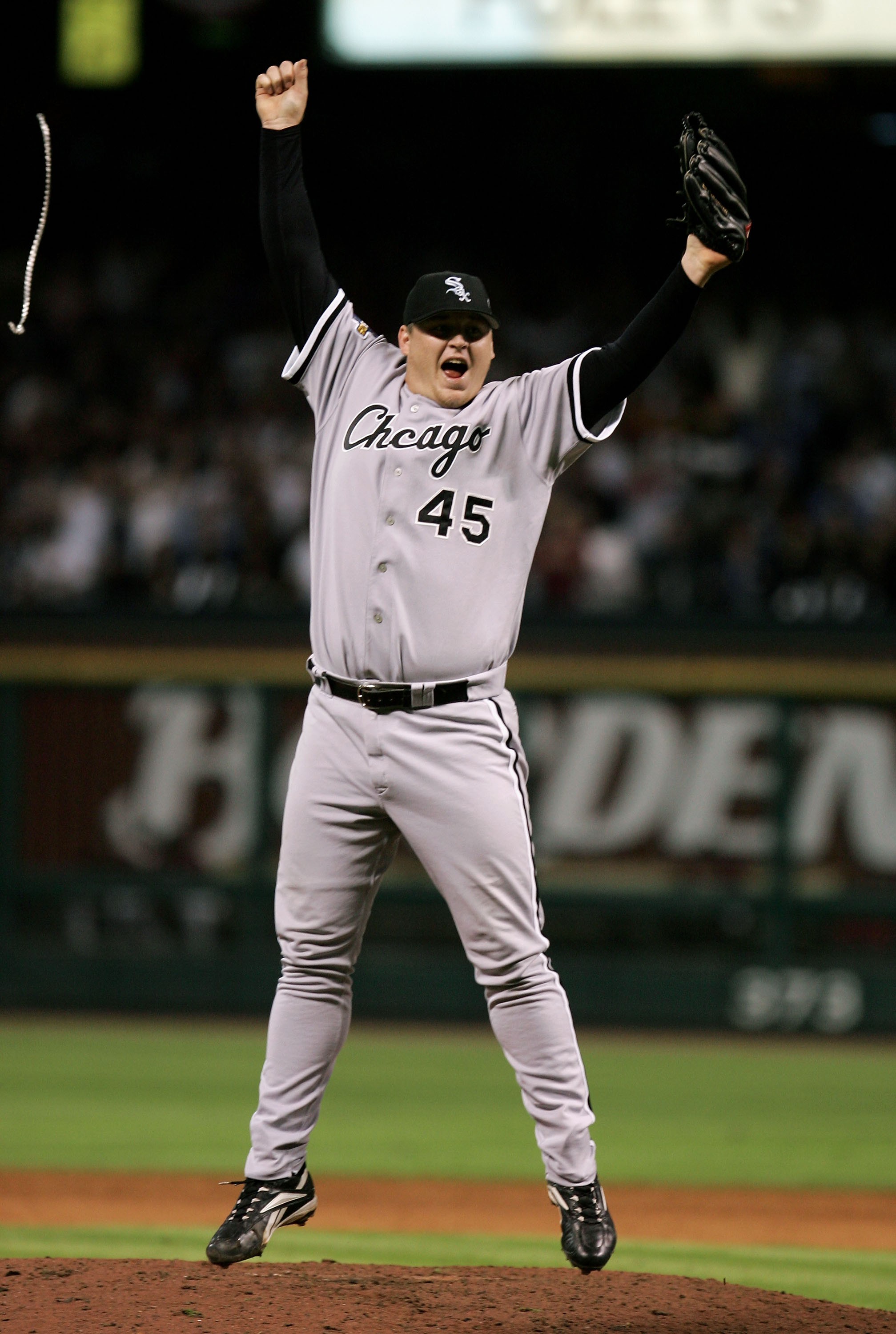 HOUSTON - OCTOBER 26:  Closing pitcher Bobby Jenks #45 of the Chicago White Sox celebrates after winning Game Four of the 2005 Major League Baseball World Series against the Houston Astros at Minute Maid Park on October 26, 2005 in Houston, Texas. The Chi