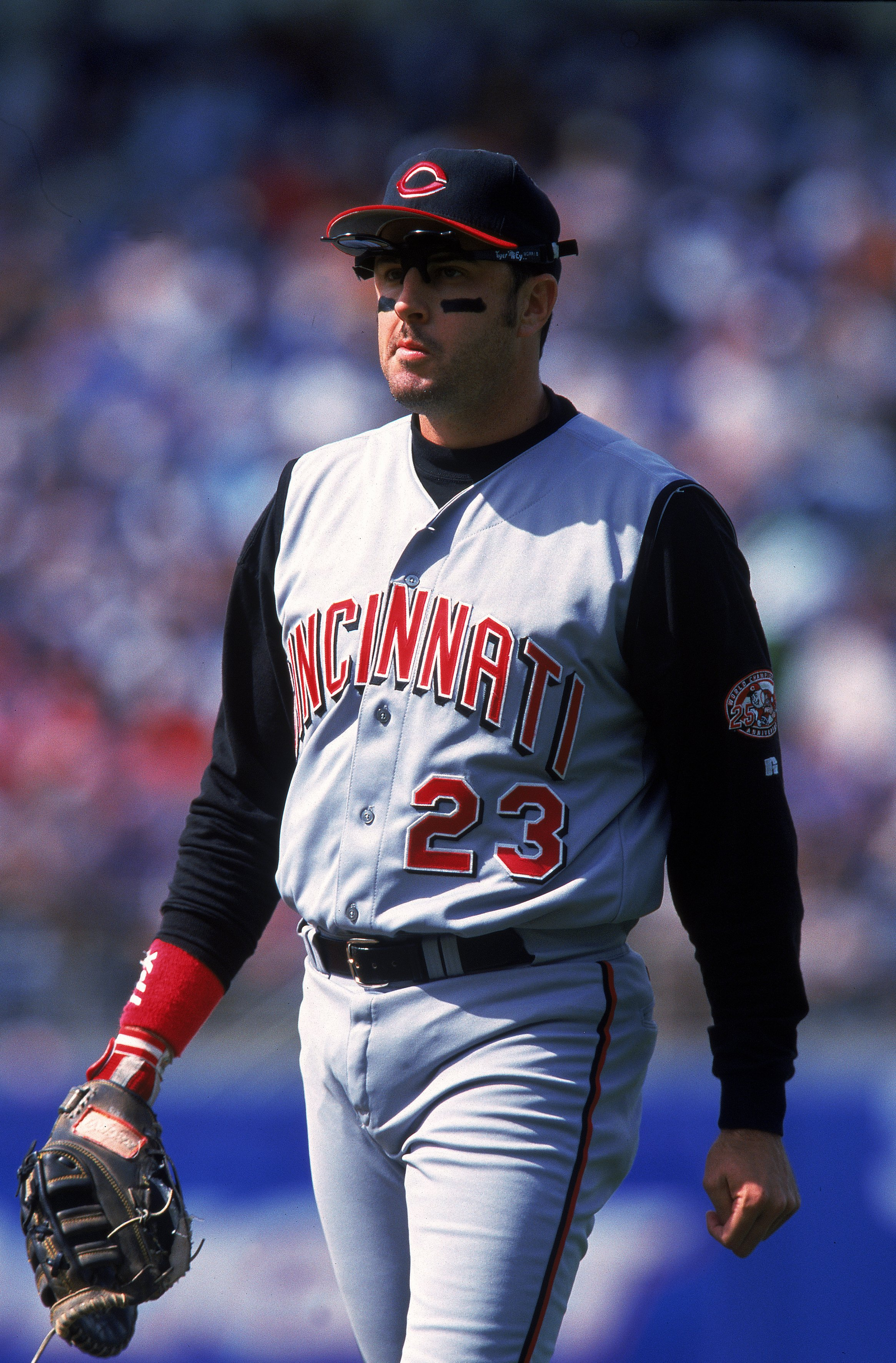 16 Apr 2000: Hal Morris #23 of the Cincinnati Reds walks on the field during the game against the Los Angeles Dodgers at Dodger Stadium in Los Angeles, California. The Reds defeated the Dodgers 5-3. Mandatory Credit: Tom Hauck  /Allsport