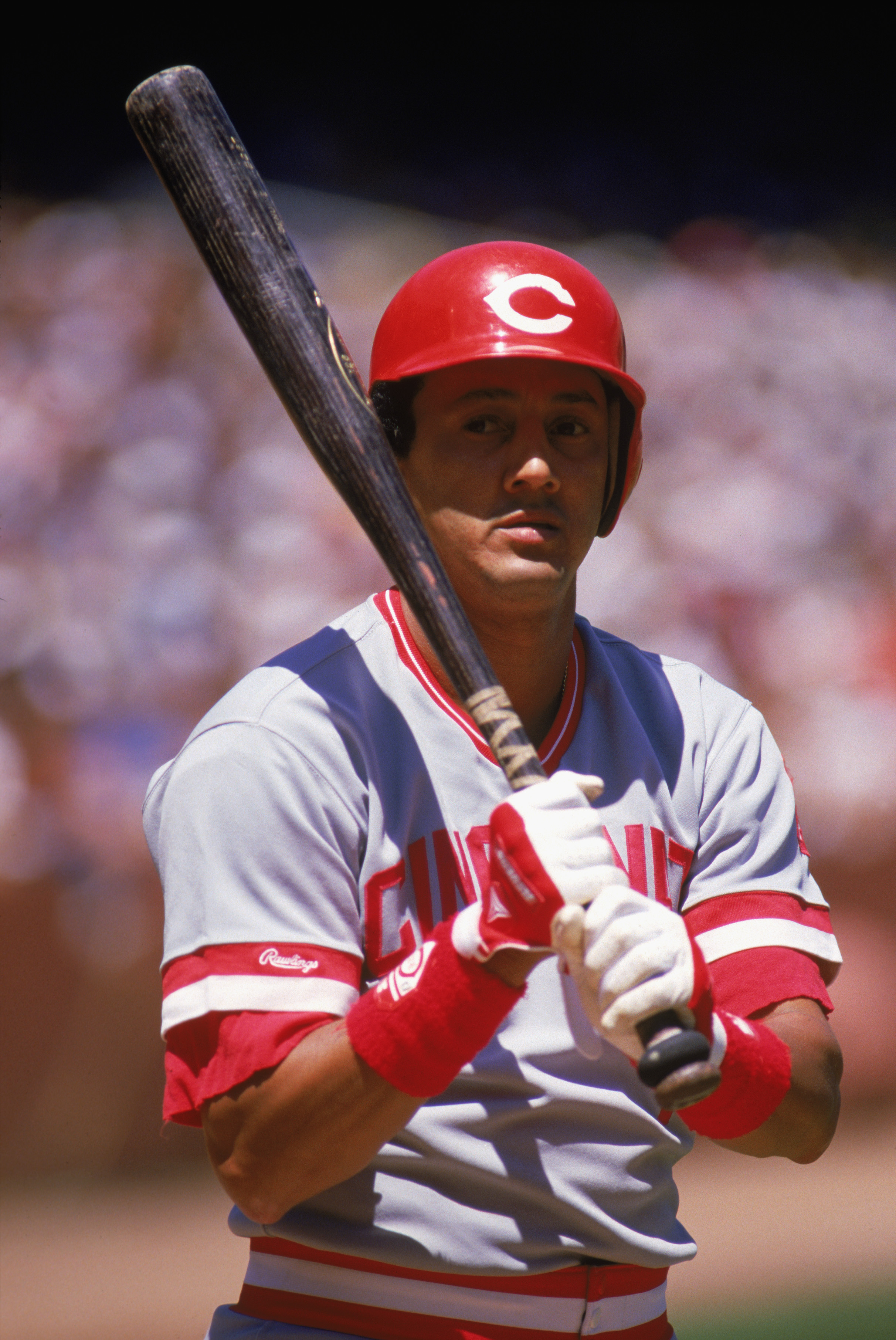 1987:  Dave Concepcion of the Cincinnati Reds grips his  bat during a MLB game in the 1987 season. ( Photo by: Otto Greule Jr/Getty Images)