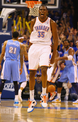 OKLAHOMA CITY, OK - APRIL 17: Kevin Durant #35 of the Oklahoma City Thunder celebrates a three-point shot against the Denver Nuggets in Game One of the Western Conference Quarterfinals in the 2011 NBA Playoffs on April 17, 2011 at the Ford Center in Oklah