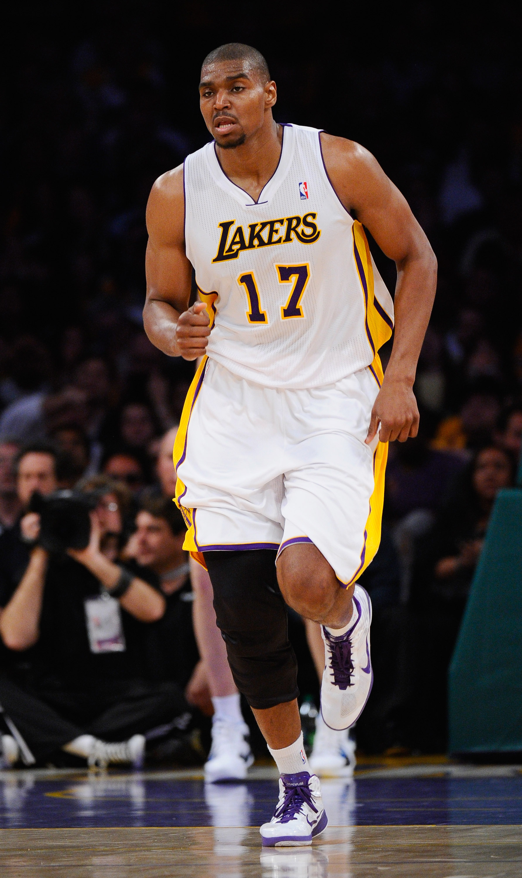 LOS ANGELES, CA - APRIL 03:  Andrew Bynum #17 of the  Los Angeles Lakers against the Denver Nuggets at Staples Center on April 3, 2011 in Los Angeles, California. NOTE TO USER: User expressly acknowledges and agrees that, by downloading and or using this