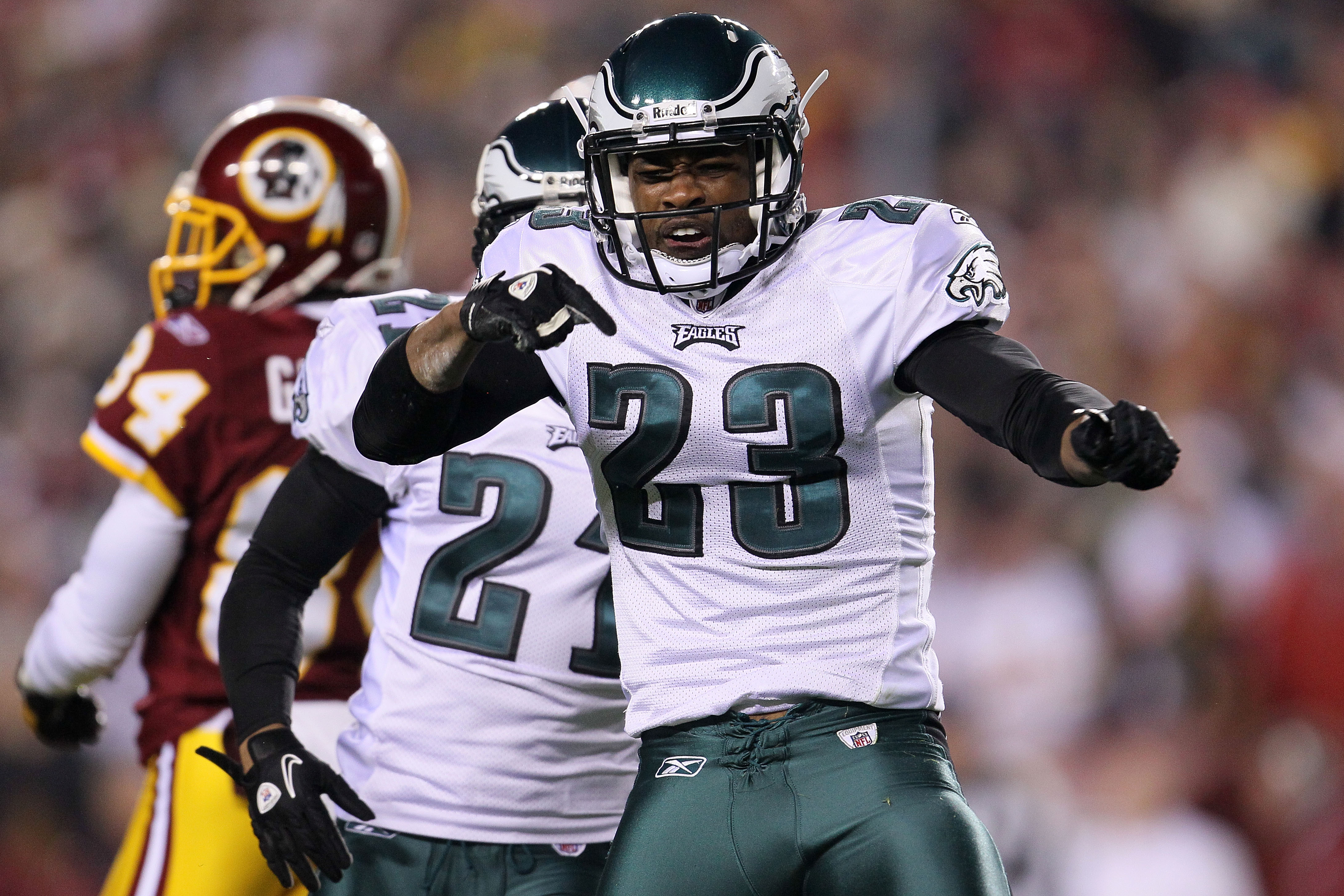 LANDOVER, MD - NOVEMBER 15: Dimitri Patterson #23 of the Philadelphia Eagles celebrates a tackle against  the Washington Redskins on November 15, 2010 at FedExField in Landover, Maryland.  (Photo by Chris McGrath/Getty Images)