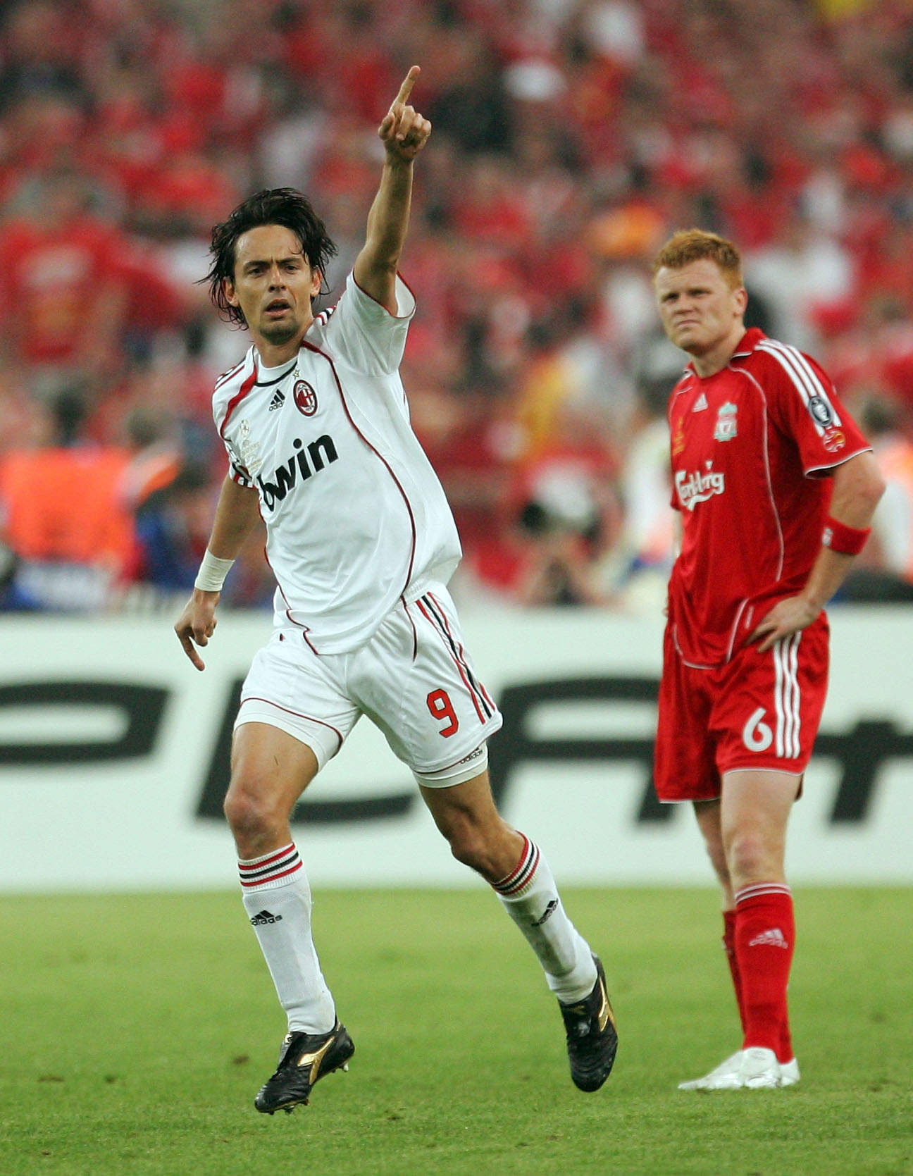 Filippo Inzaghi whirls away in celebration after scoring against Liverpool in the 2007 Champions League final