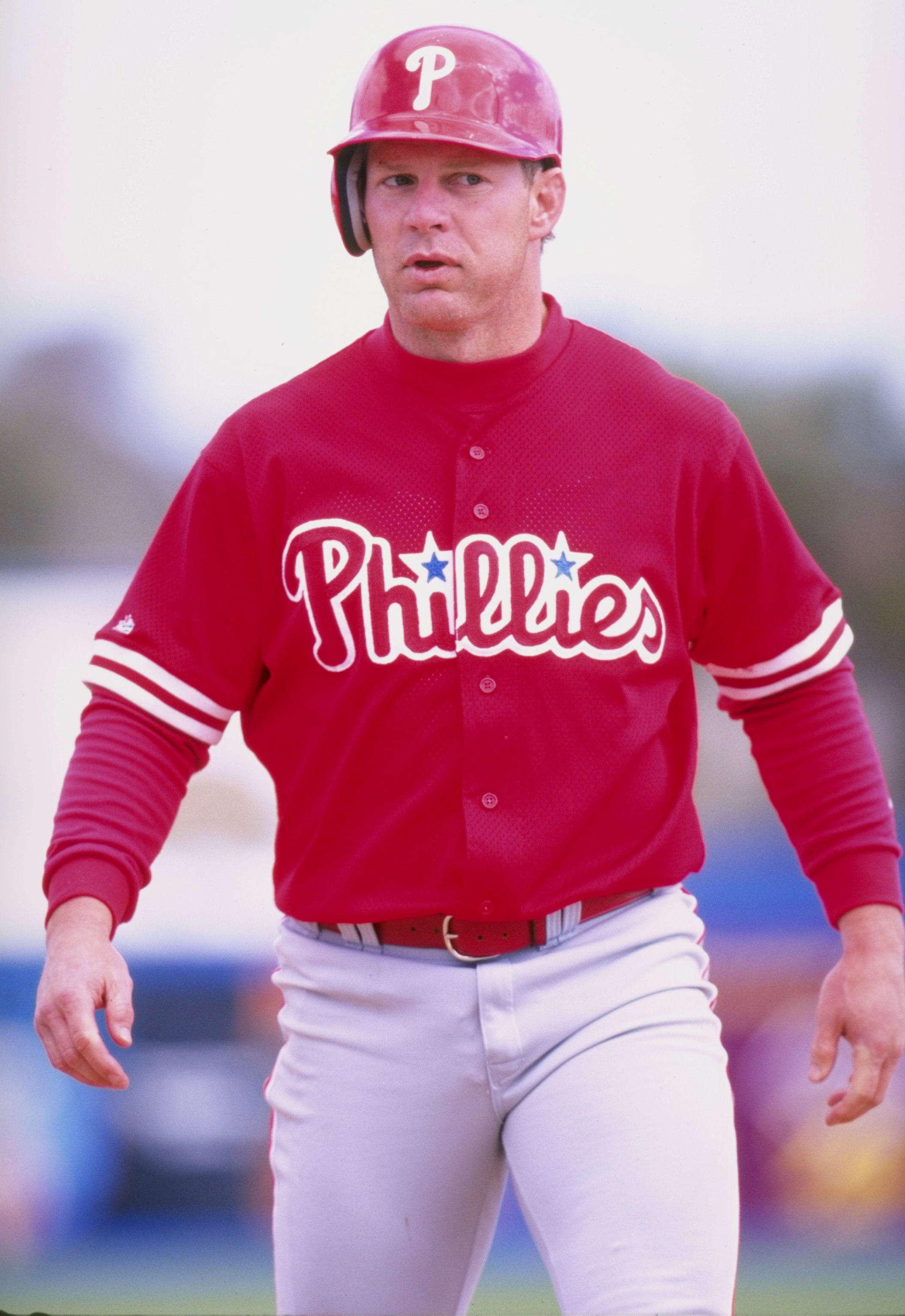10 Mar 1998:  Outfielder Lenny Dykstra of the Philadelphia Phillies in action during a spring training game against the Toronto Blue Jays at Grant Field in Dunedin, Florida.  The Phillies won the game, 14-3. Mandatory Credit: Tom Hauck  /Allsport