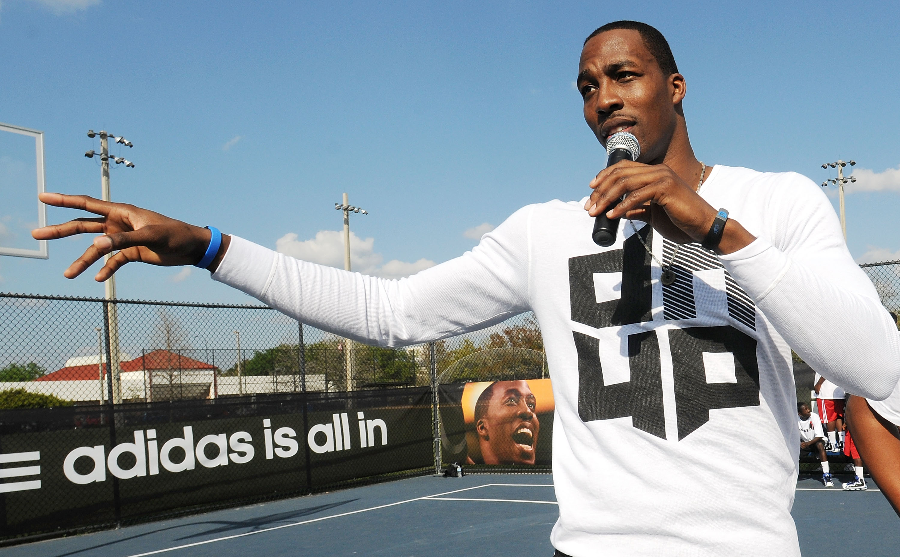 ORLANDO, FL - MARCH 17:  NBA All-Star Dwight Howard shows off his game face at an Orlando community center where he was on hand to capture kids' game faces for the next adidas commercial on March 17, 2011 in Orlando, Florida. Fans can visit www.facebook.c