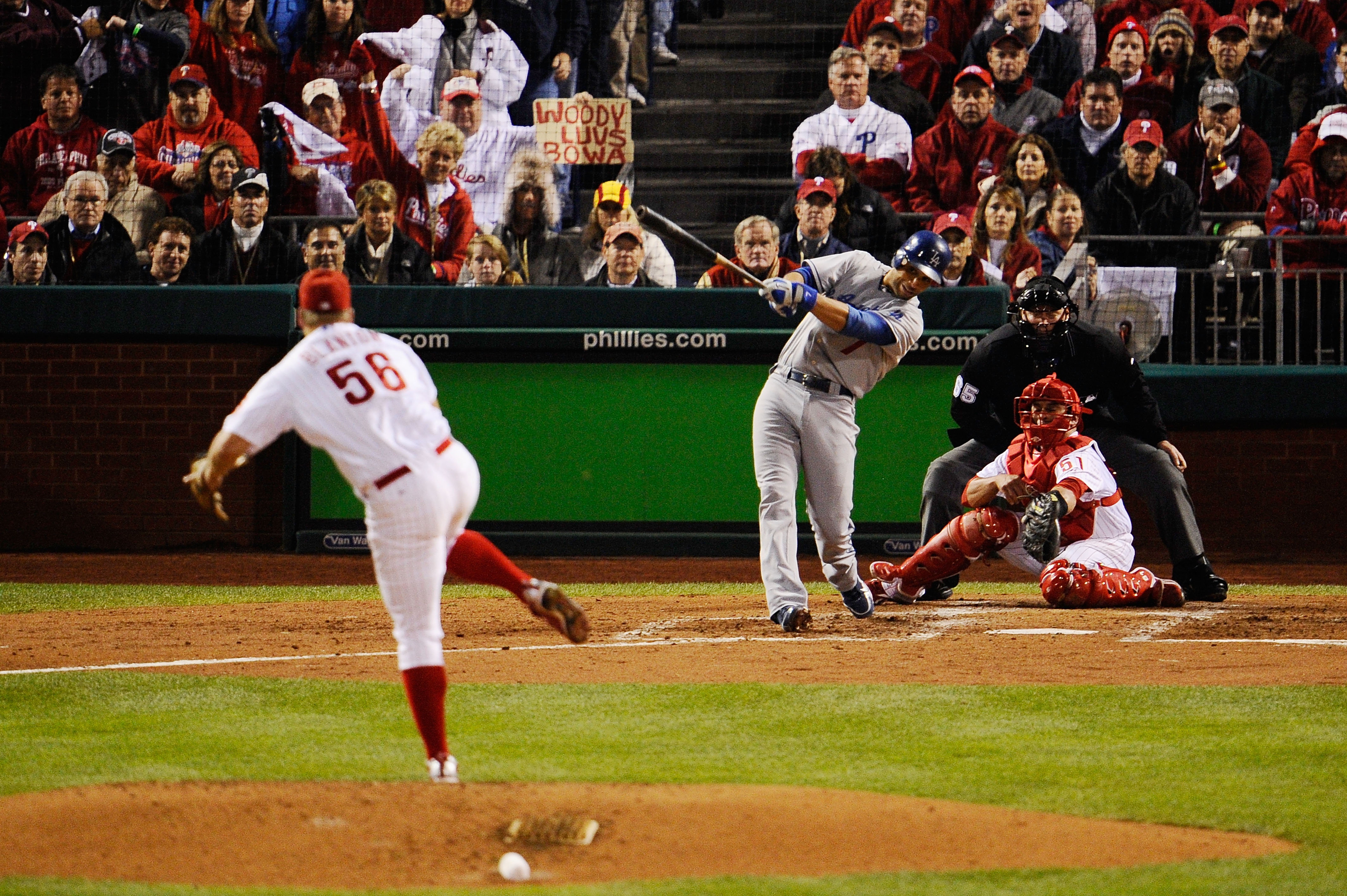 PHILADELPHIA - OCTOBER 19:  James Loney #7 of the Los Angeles Dodgers hits a RBI single in the top of the fourth inning against Joe Blanton #56 of the Philadelphia Phillies in Game Four of the NLCS during the 2009 MLB Playoffs at Citizens Bank Park on Oct
