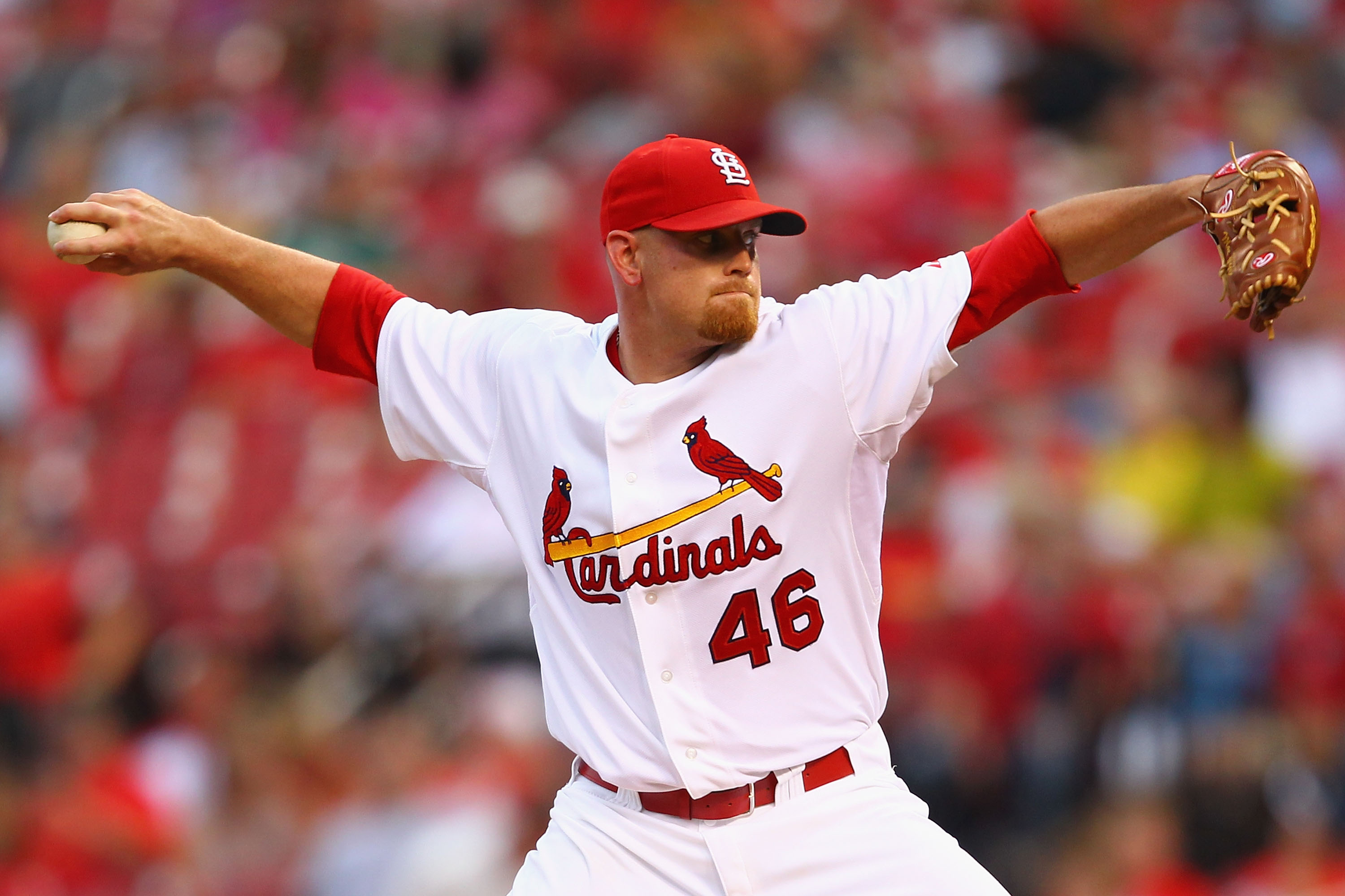 ST. LOUIS - SEPTEMBER 18: Reliever Kyle McClellan #46 of the St. Louis Cardinals pitches against the San Diego Padres at Busch Stadium on September 18, 2010 in St. Louis, Missouri.  The Padres beat the Cardinals 8-4.  (Photo by Dilip Vishwanat/Getty Image
