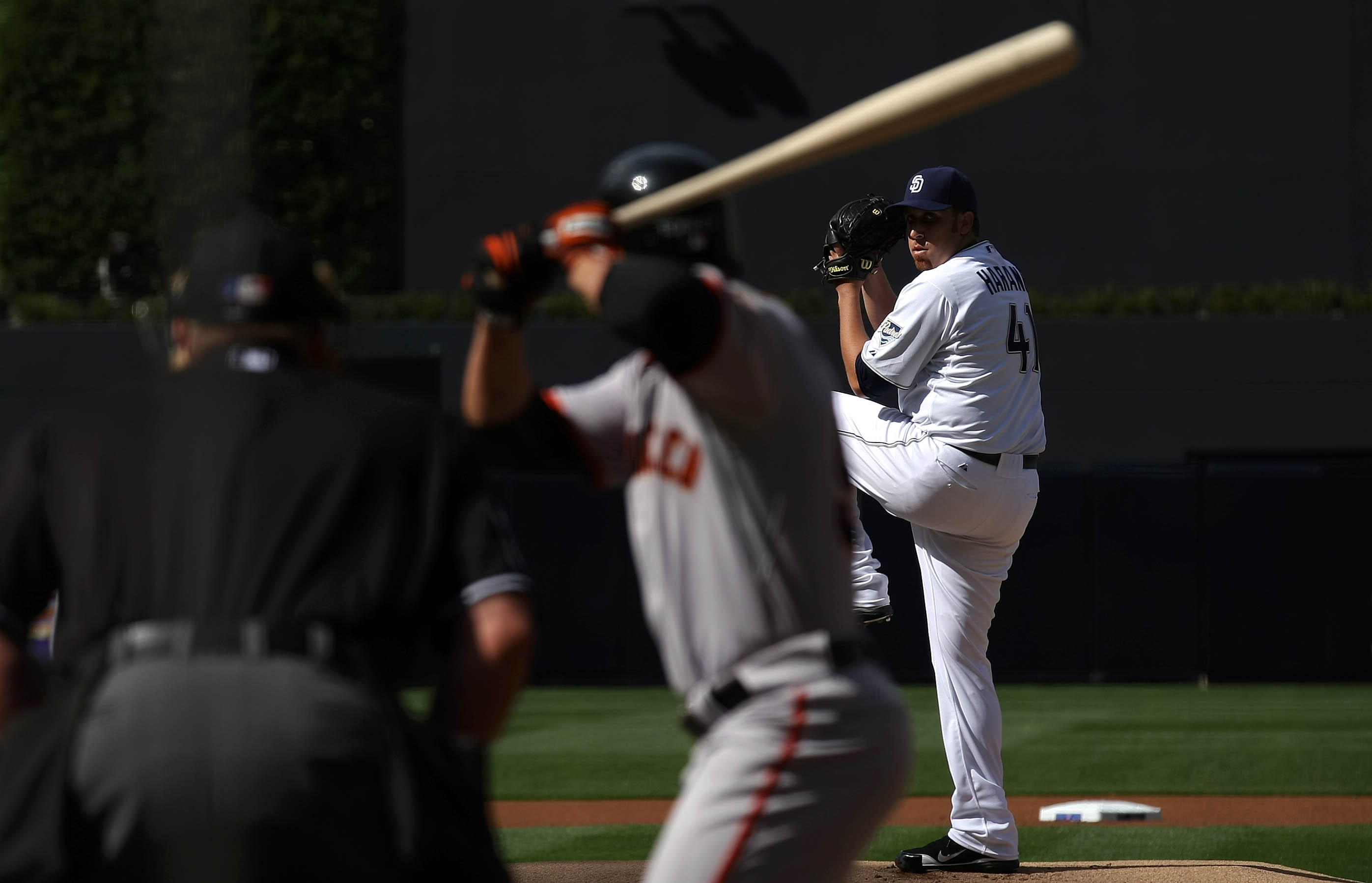 SAN DIEGO, CA - APRIL 5:  Starting Pitcher Aaron Harang #41 of the San Diego Padres throws the first pitch of the game from the mound against the San Francisco Giants during their MLB Game at Petco Park on April 5, 2011 in San Diego, California. (Photo by