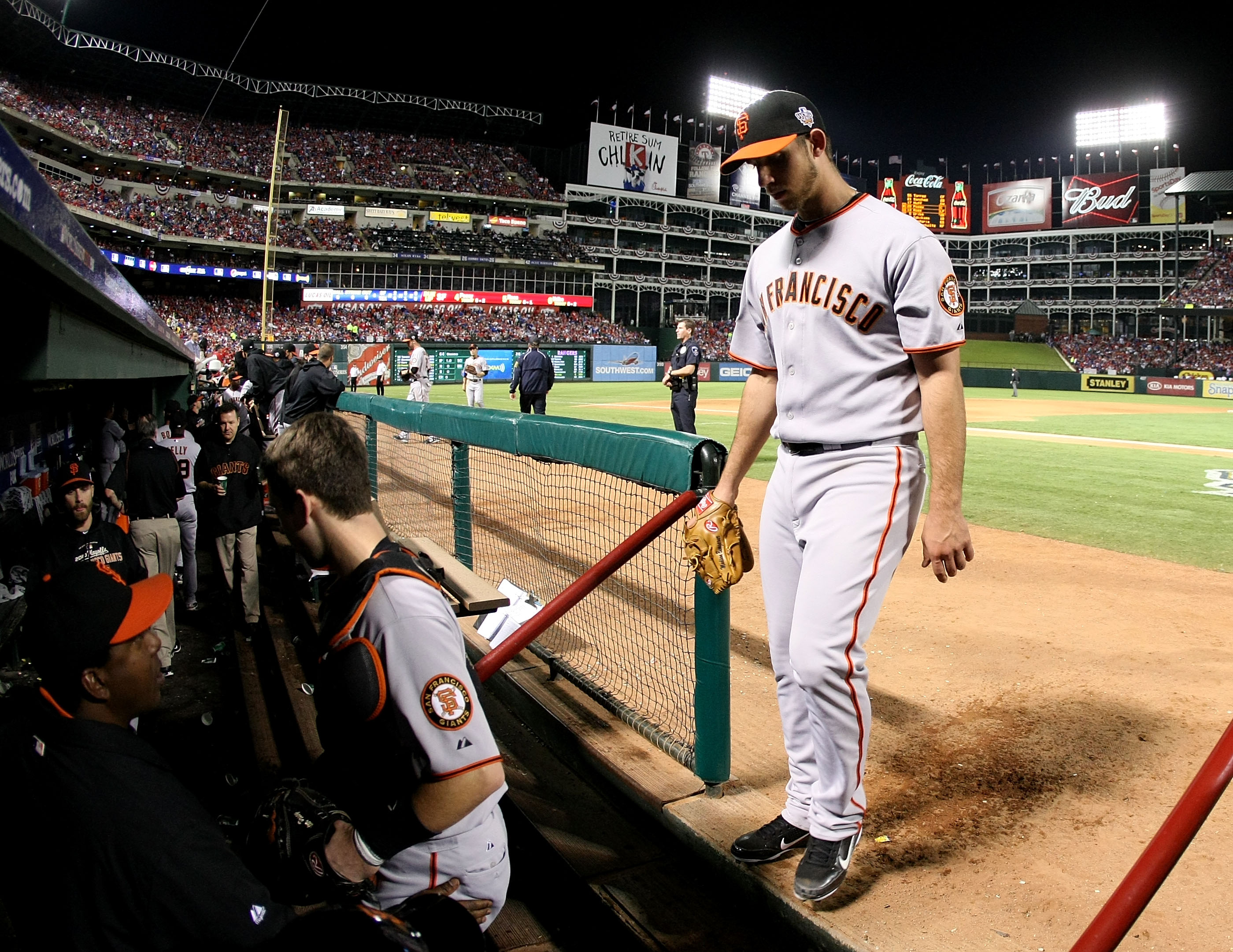 ARLINGTON, TX - OCTOBER 31:  Starting pitcher Madison Bumgarner #40 of the San Francisco Giants walks into the dugout in the fifth inning against the Texas Rangers in Game Four of the 2010 MLB World Series at Rangers Ballpark in Arlington on October 31, 2