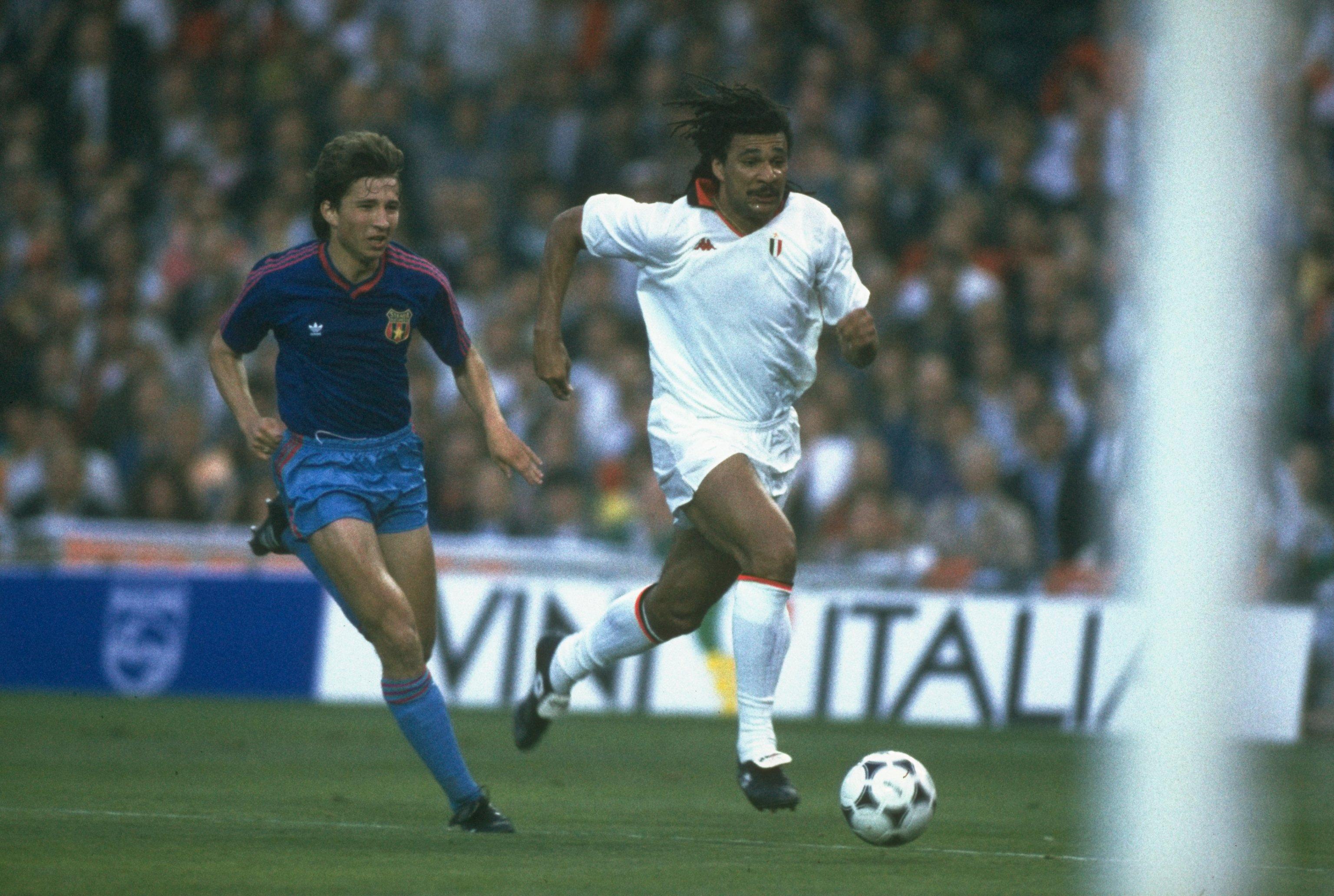Ruud Gullit races past future Chelsea team-mate Dan Petrescu against Steaua Bucharest in the 1989 European Cup Final