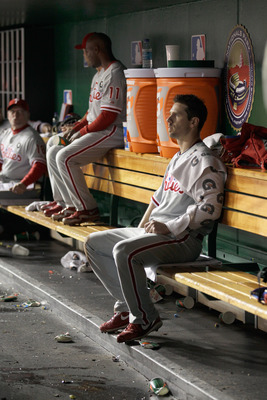WASHINGTON, DC - APRIL 14:  Starting pitcher Cliff Lee #33 of the Philadelphia Phillies in the dugout between innings against the Washington Nationals at Nationals Park on April 14, 2011 in Washington, DC.  (Photo by Rob Carr/Getty Images)
