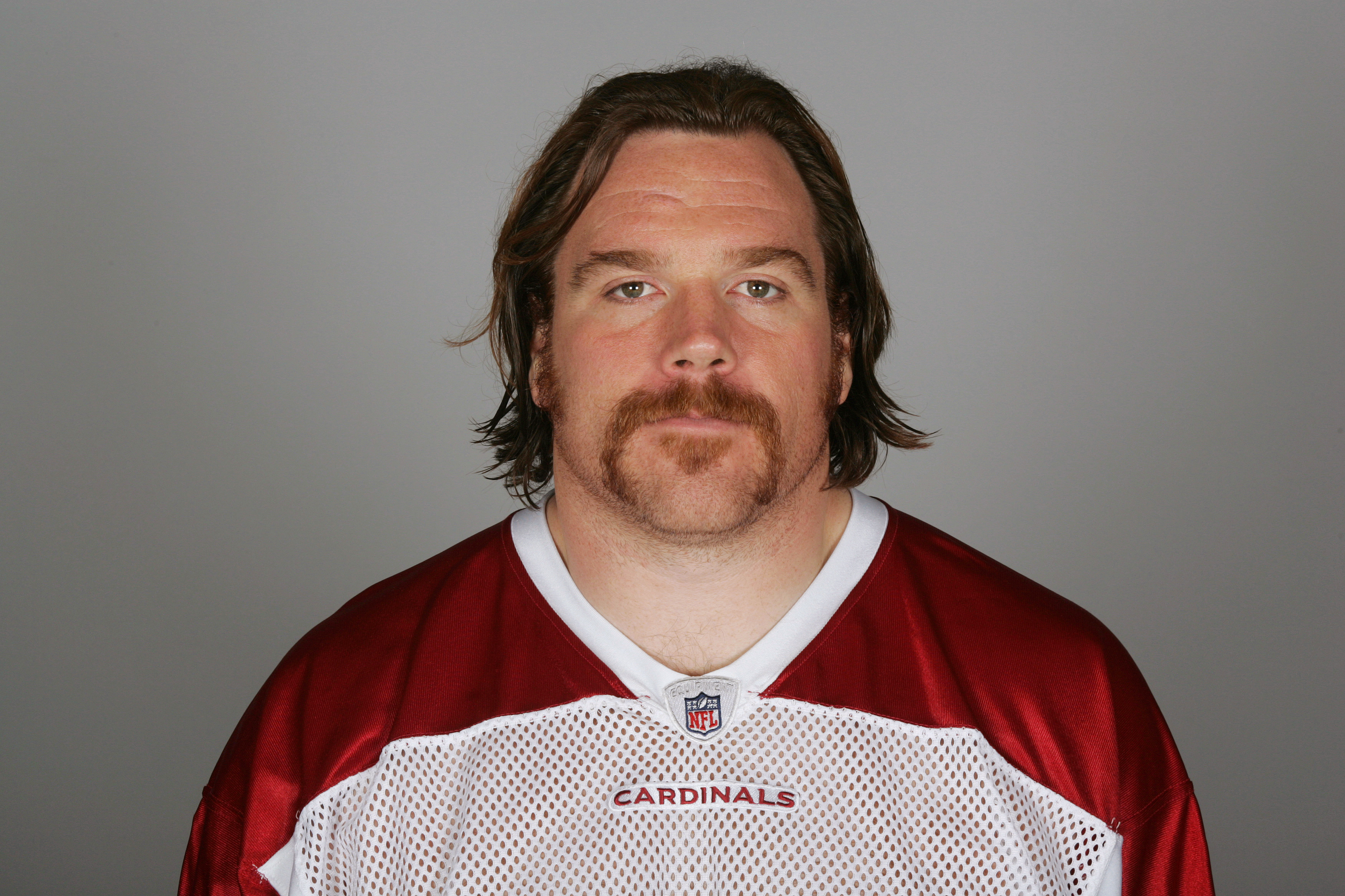 TEMPE, AZ - CIRCA 2010: In this handout image provided by the NFL,  Alan Faneca of the Arizona Cardinals poses for his NFL headshot circa 2010 in Tempe, Arizona. (Photo by NFL via Getty Images)