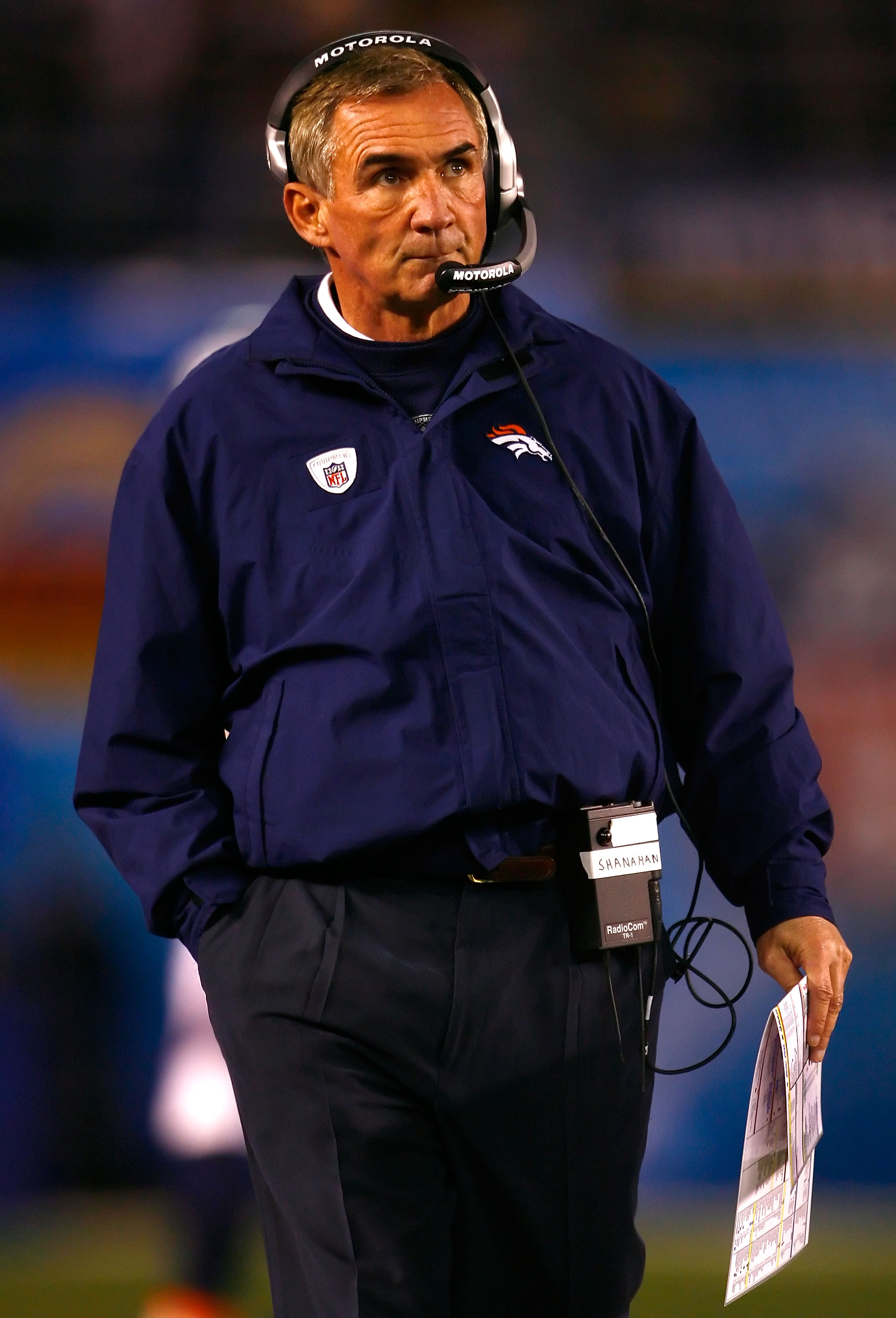 SAN DIEGO - DECEMBER 28:  Head coach Mike Shanahan of the Denver Broncos walks the sidelines during the NFL game against the San Diego Chargers at Qualcomm Stadium on December 28, 2008 in San Diego, California.  (Photo by Jeff Gross/Getty Images)