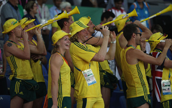 DELHI, INDIA - OCTOBER 12:  Members of the Australia team blow vuvuzelas at Jawaharlal Nehru Stadium during day nine of the Delhi 2010 Commonwealth Games on October 12, 2010 in Delhi, India.  (Photo by Michael Steele/Getty Images)