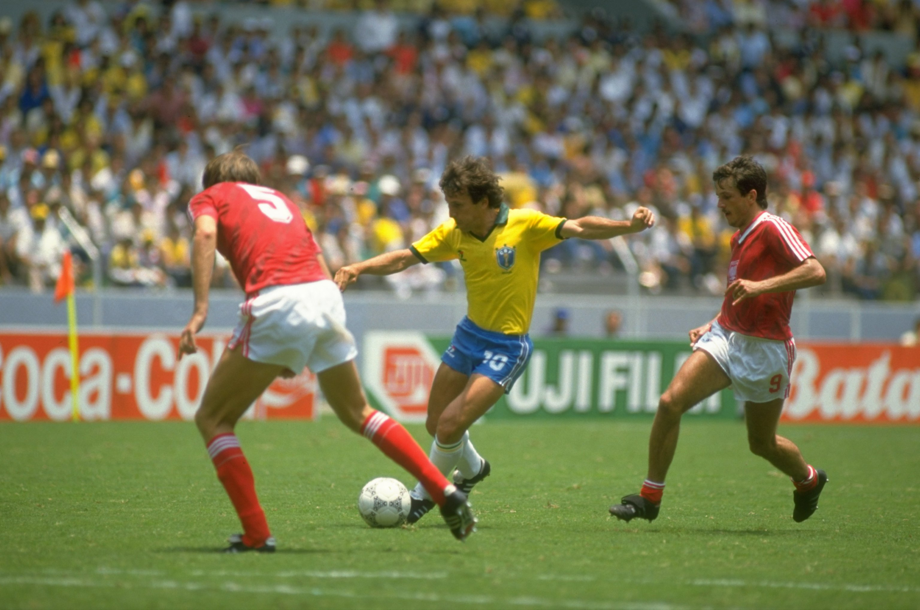 Zico in action for Brazil at the 1982 World Cup
