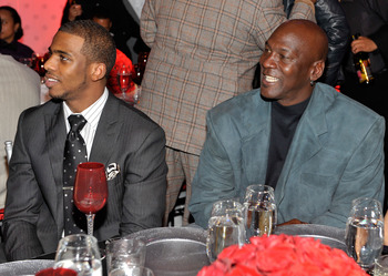 DALLAS - FEBRUARY 12:  NBA player Chris Paul (L) and Michael Jordan attend the Exclusive FABULOUS 23 Dinner hosted by Jordan Brand during All-Star Weekend on February 12, 2010 in Dallas, Texas.  (Photo by Charley Gallay/Getty Images for Jordan Brand)
