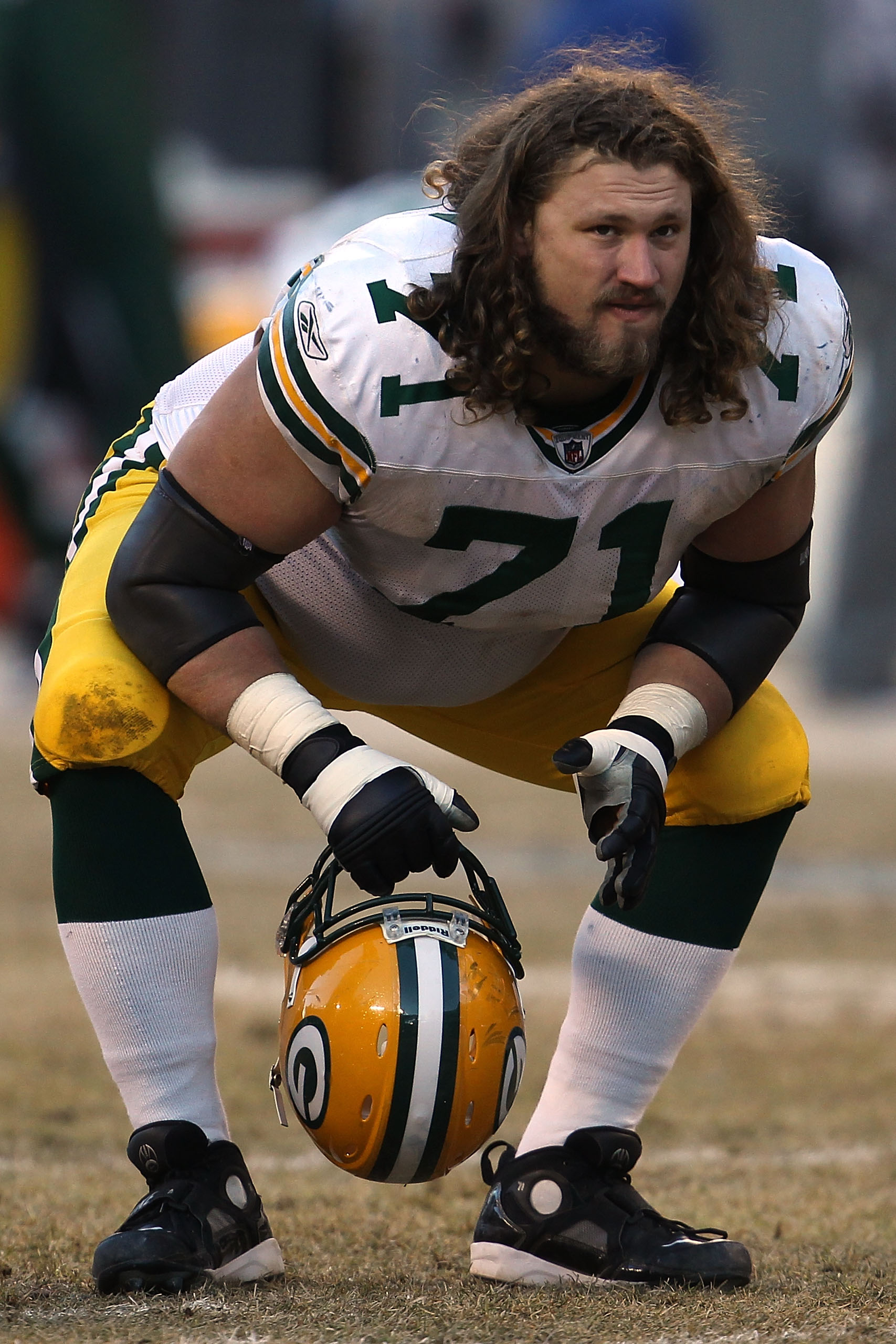 CHICAGO, IL - JANUARY 23:  Josh Sitton #71 of the Green Bay Packers looks on from the field while taking on the Chicago Bears in the NFC Championship Game at Soldier Field on January 23, 2011 in Chicago, Illinois.  (Photo by Jonathan Daniel/Getty Images)