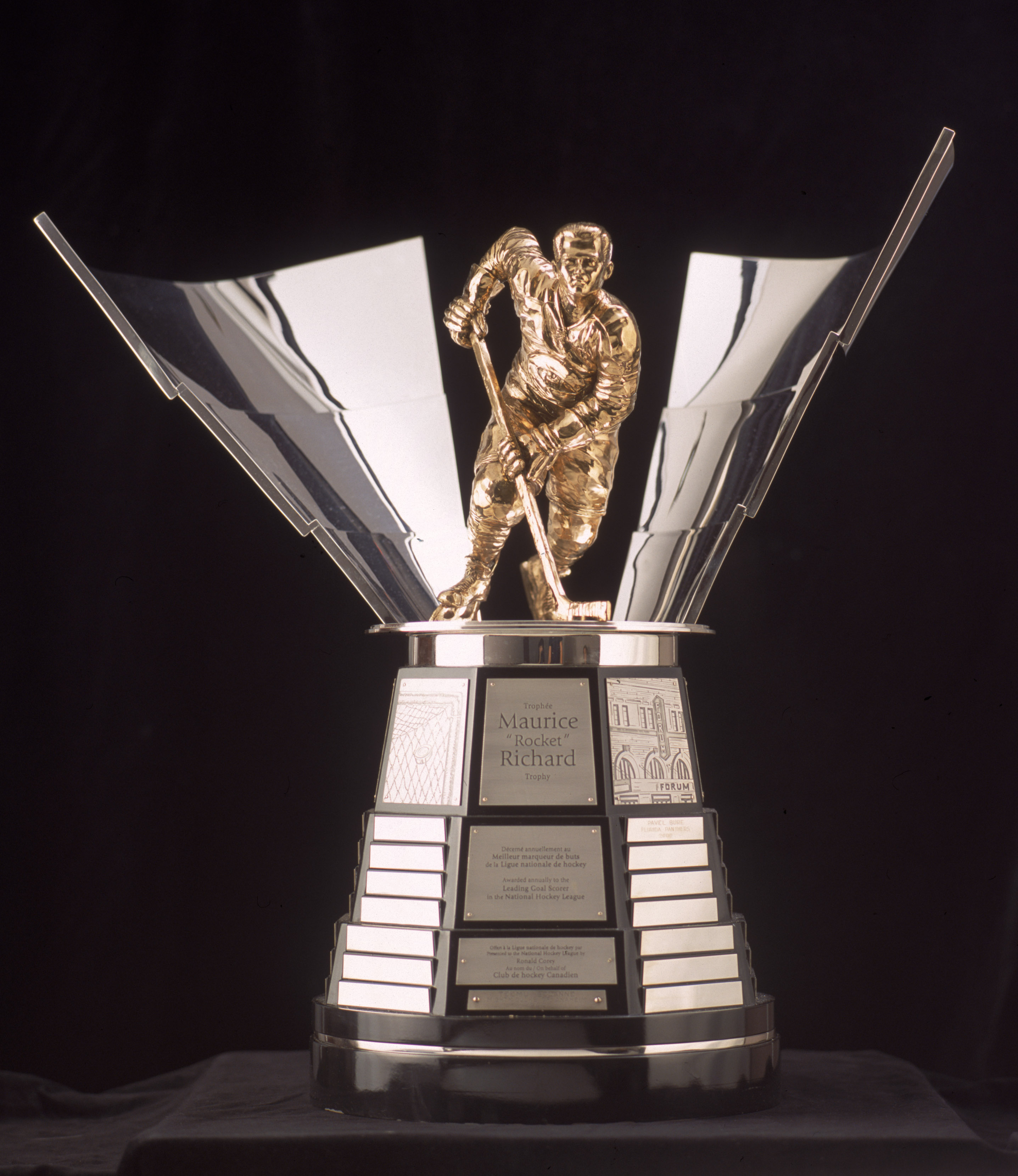 TORONTO - JANUARY 1:  The Maurice Richard Trophy is presented yearly to the Top Goal Scorer in the National Hockey League as pictured on January 01, 2001.  (Photo by Silva Pecota /Getty Images/NHLI)