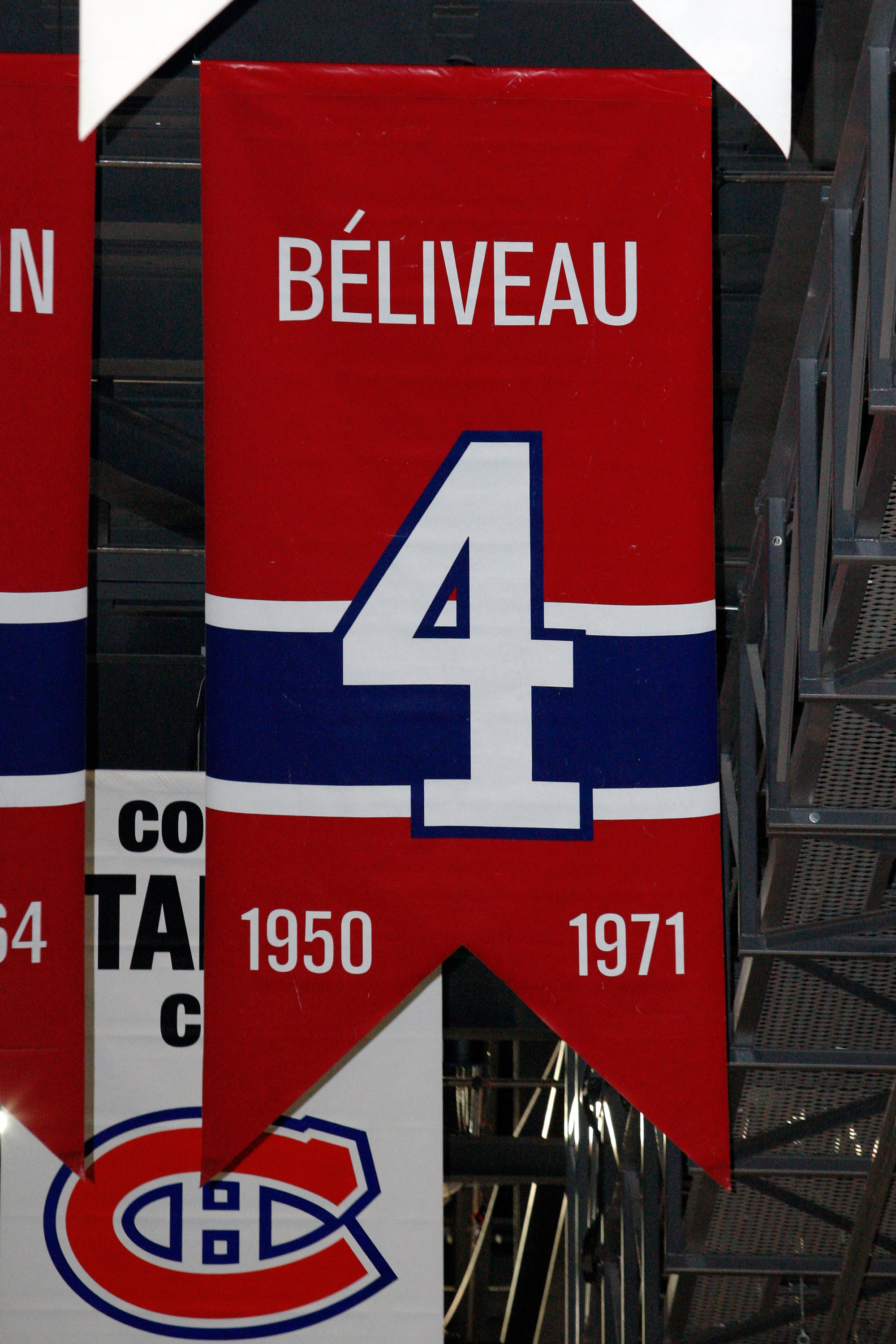 MONTREAL- APRIL 19:  A photo of the banner commemorating the retired jersey of Jean Beliveau hanging in the Bell Centre prior to Game Three of the Eastern Conference Quarterfinals between the Washington Capitals and Montreal Canadiens during the 2010 NHL