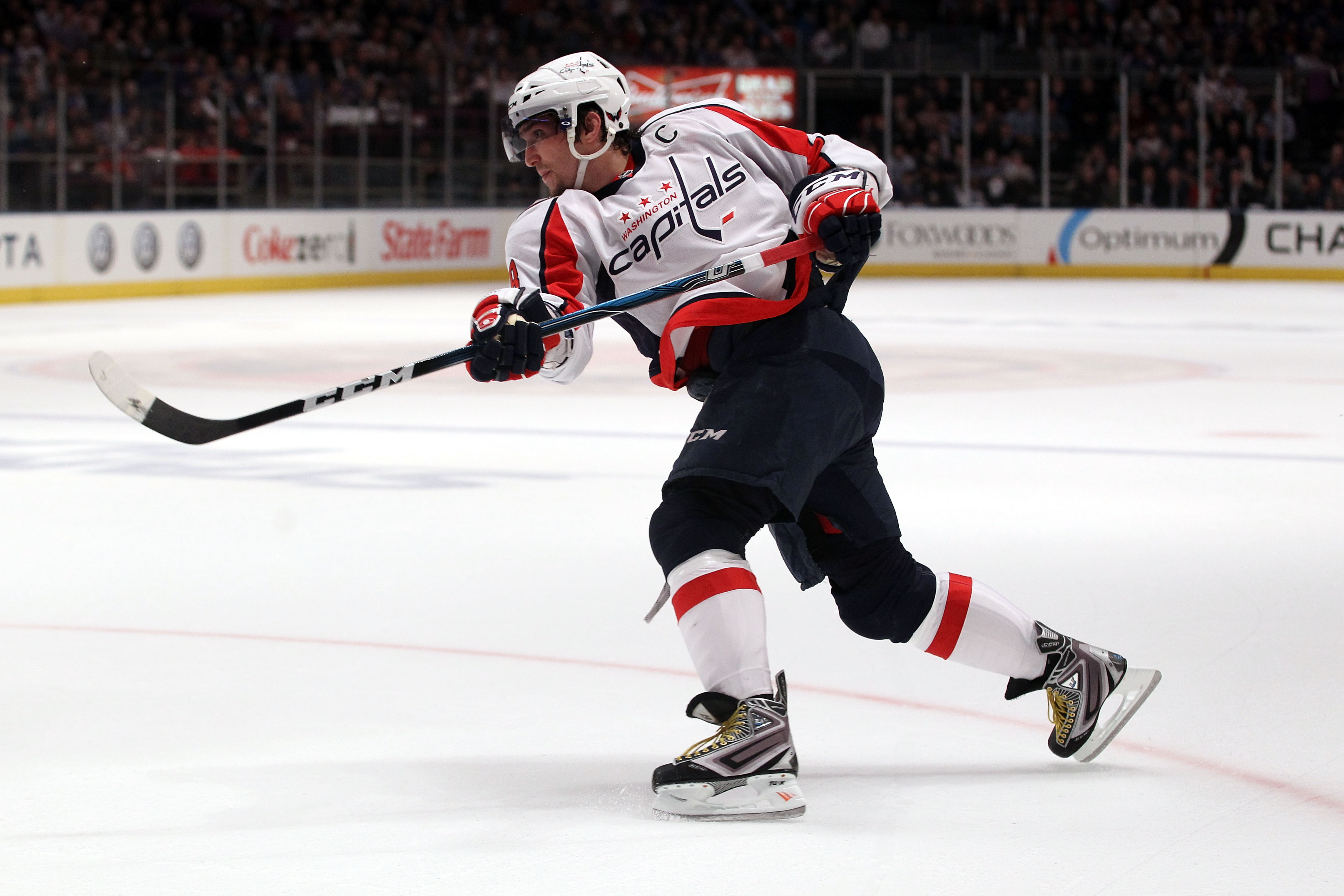 NEW YORK, NY - APRIL 20:  Alex Ovechkin #8 of the Washington Capitals follows through on a shot attempt against the New York Rangers in Game Four of the Eastern Conference Quarterfinals during the 2011 NHL Stanley Cup Playoffs at Madison Square Garden on