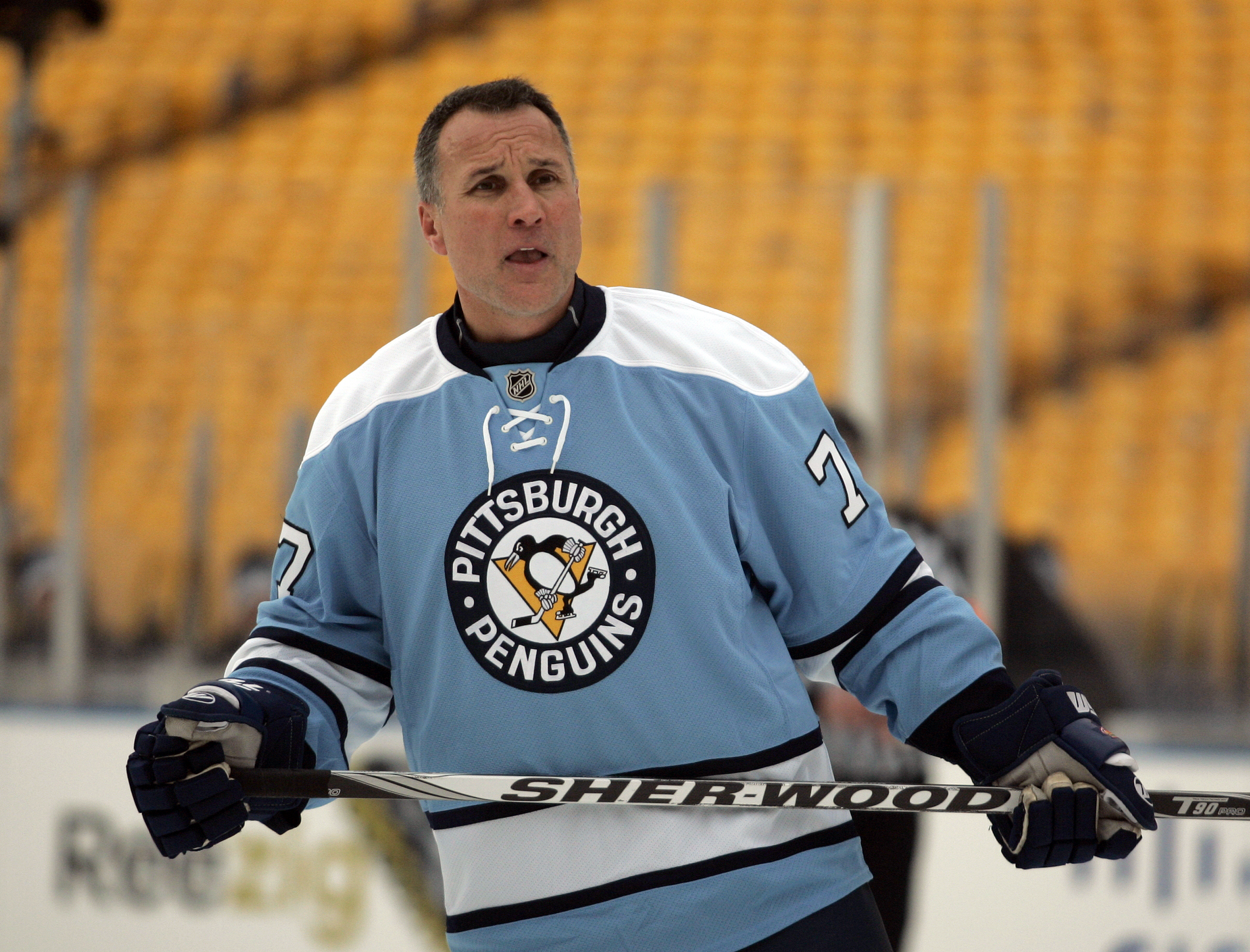 PITTSBURGH, PA - DECEMBER 31:  Paul Coffey #77 of the Pittsburgh Penguins skates against the Washington Capitals during the 2011 NHL Winter Classic Alumni Game on December 31, 2010 at Heinz Field in Pittsburgh, Pennsylvania.  (Photo by Justin K. Aller/Get