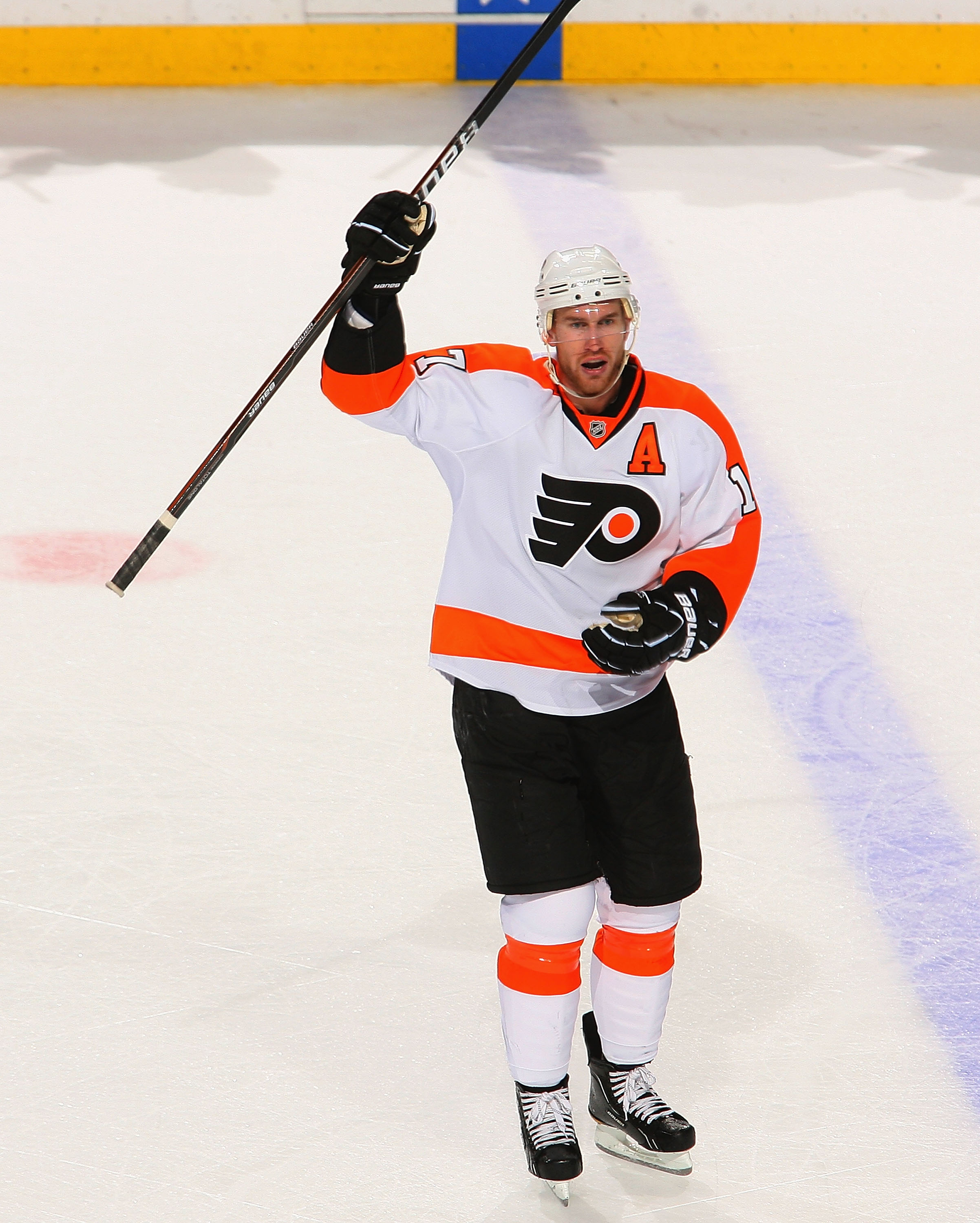 BUFFALO, NY - APRIL 18: Jeff Carter #17 of the Philadelphia Flyers reacts after Kimmo Timonen #44 scored an empty net goal aginst the Buffalo Sabres  in Game Three of the Eastern Conference Quarterfinals during the 2011 NHL Stanley Cup Playoffs at HSBC Ar