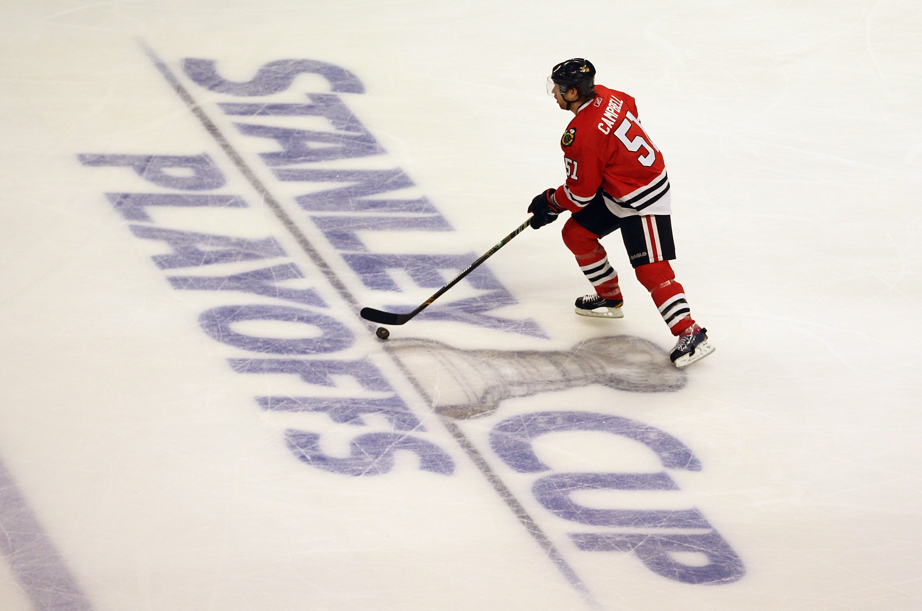 CHICAGO, IL - APRIL 17: Brian Campbell #51 of the Chicago Blackhawks skates up the ice against the Vancouver Canucks in Game Three of the Western Conference Quarterfinals during the 2011 NHL Stanley Cup Playoffs at the United Center on April 17, 2011 in C