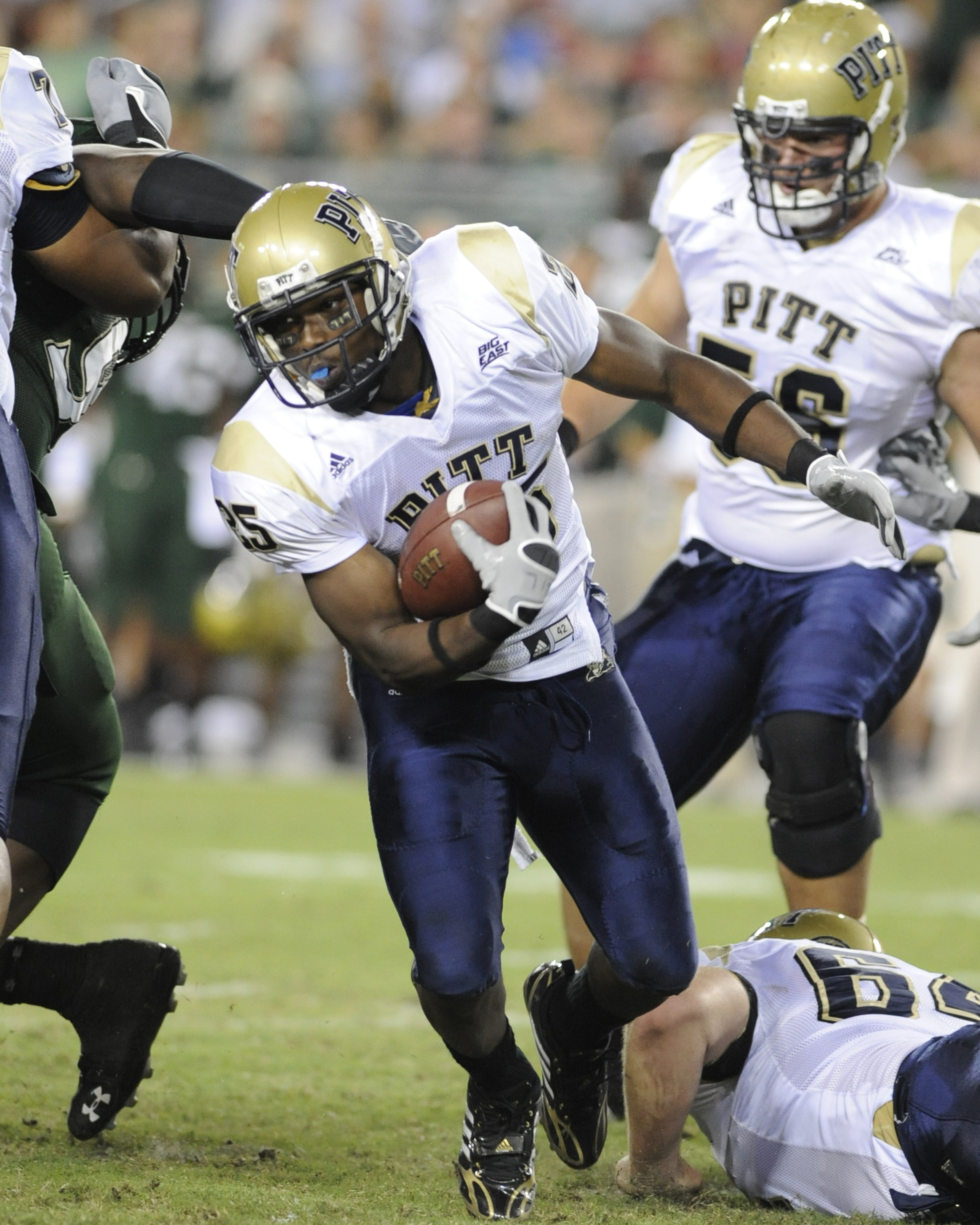 TAMPA, FL - OCTOBER 2: Tailback LeSean McCoy #25 of the Pittsburgh Panthers rushes upfield against the University of South Florida Bulls at Raymond James Stadium on October 2, 2008 in Tampa, Florida.  (Photo by Al Messerschmidt/Getty Images)