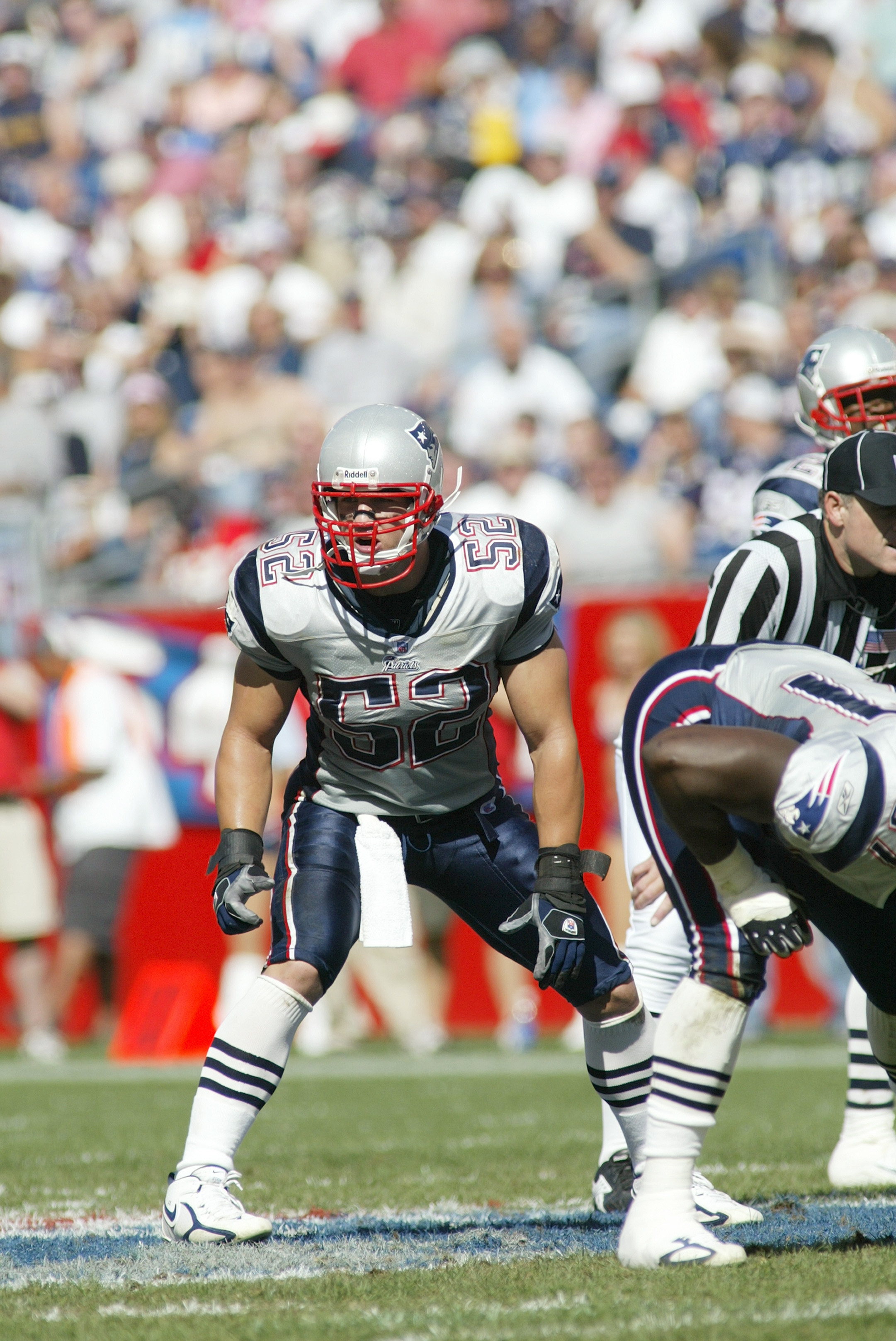 FOXBORO, MA - OCTOBER 2:  Linebacker Monty Beisel #52 of the New England Patriots looks on against the San Diego Chargers on October 2, 2005 at Gillette Stadium in Foxboro, Massachusetts.  The Chargers won 41-17.  (Photo by Rick Stewart/Getty Images)