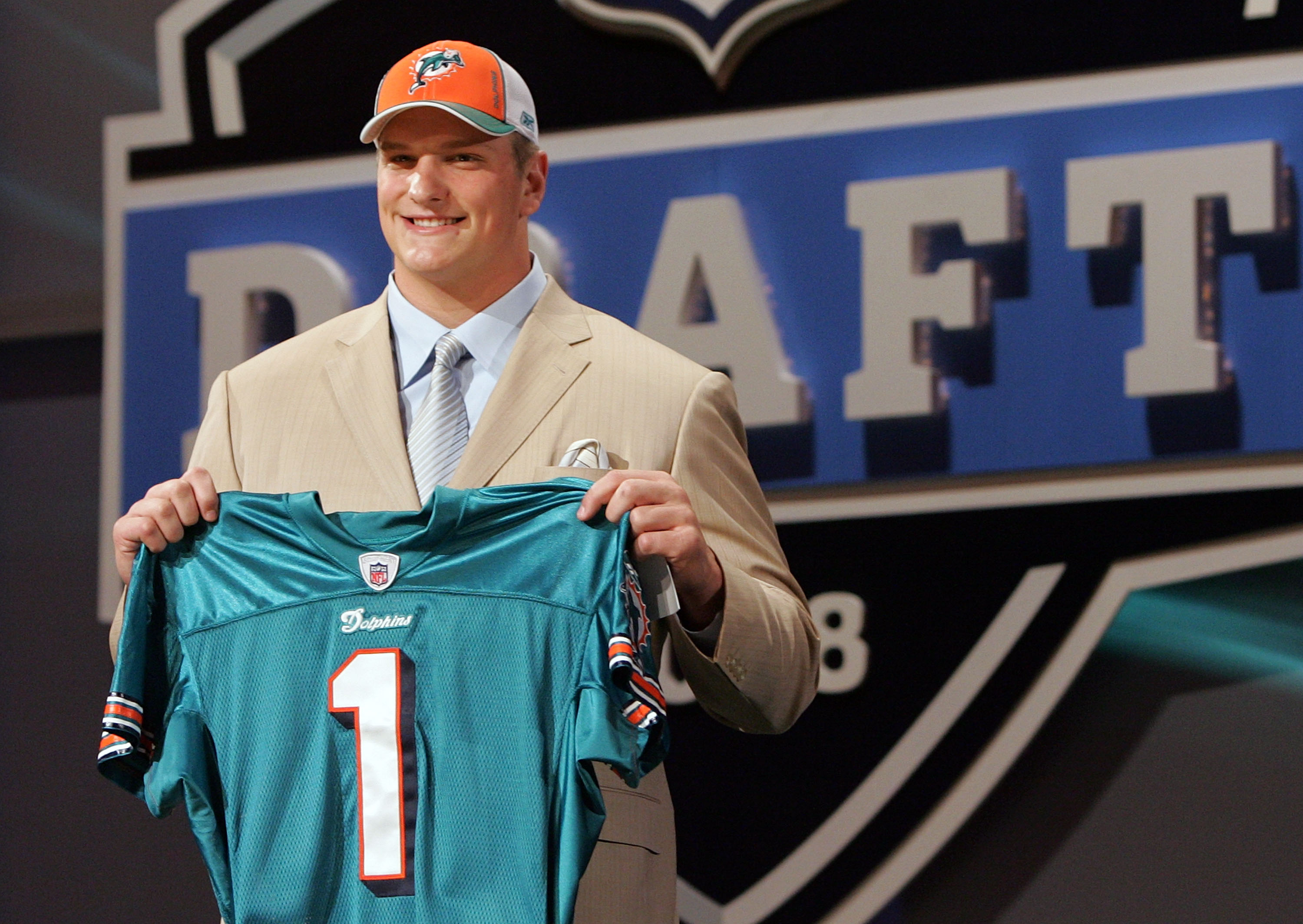 NEW YORK - APRIL 26:  Jake Long poses for a photo after being taken as the fisrt overall draft pick by the Miami Dolphins during the 2008 NFL Draft on April 26, 2008 at Radio City Music Hall in April 26, 2008 in New York City.  (Photo by Jim McIsaac/Getty