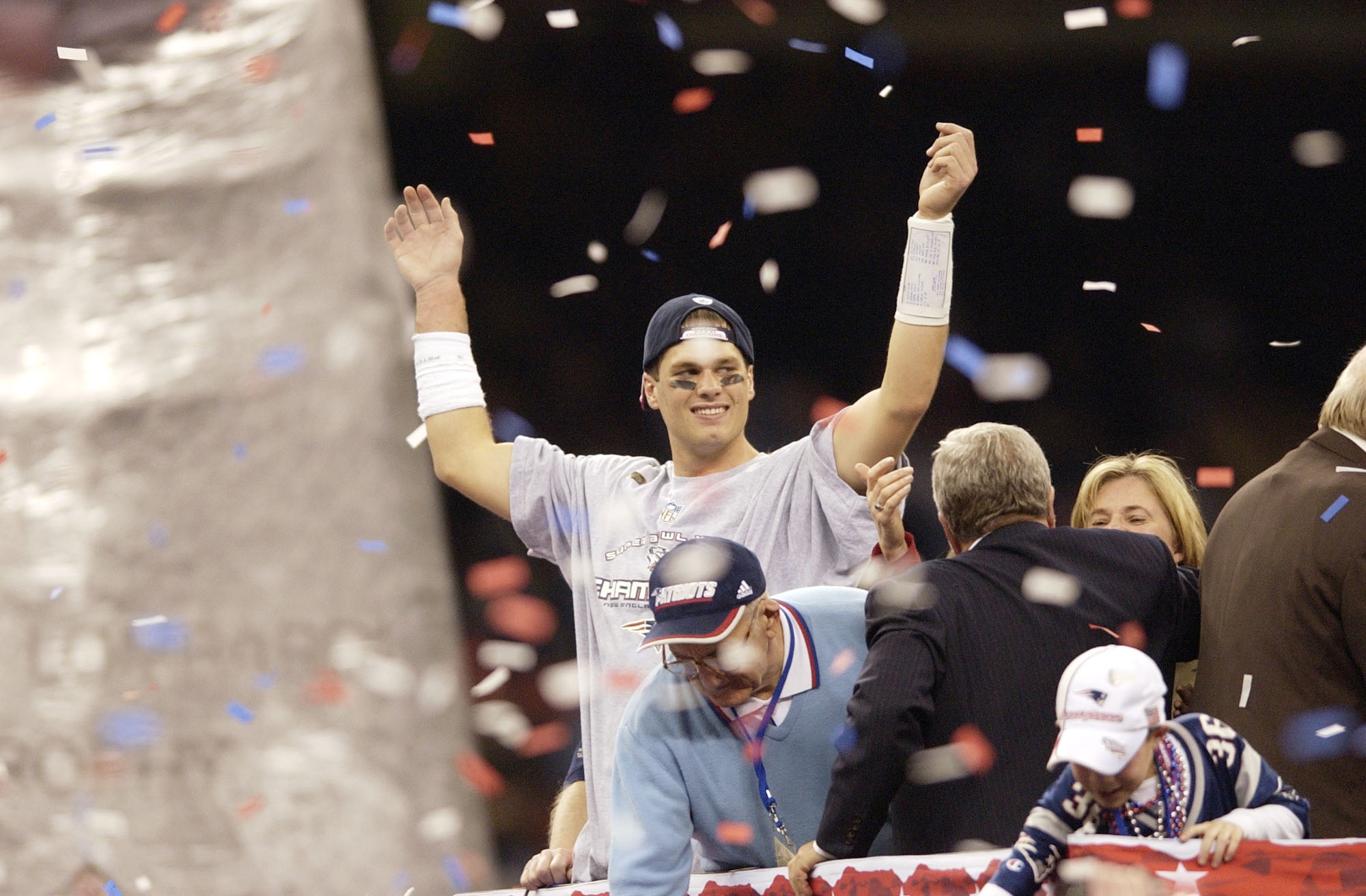 03 Feb 2002:   Quarterback Tom Brady celebrates after Superbowl XXXVI at the Superdome in New Orleans, Louisiana.  The Patriots won 20-17, with a 48-yard field goal by kicker Adam Vinatieri with 10 seconds left in the game . DIGITAL IMAGE. Mandatory Credi
