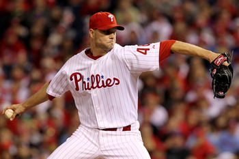 PHILADELPHIA - OCTOBER 23:  Ryan Madson #46 of the Philadelphia Phillies pitches against the San Francisco Giants in Game Six of the NLCS during the 2010 MLB Playoffs at Citizens Bank Park on October 23, 2010 in Philadelphia, Pennsylvania.  (Photo by Al B