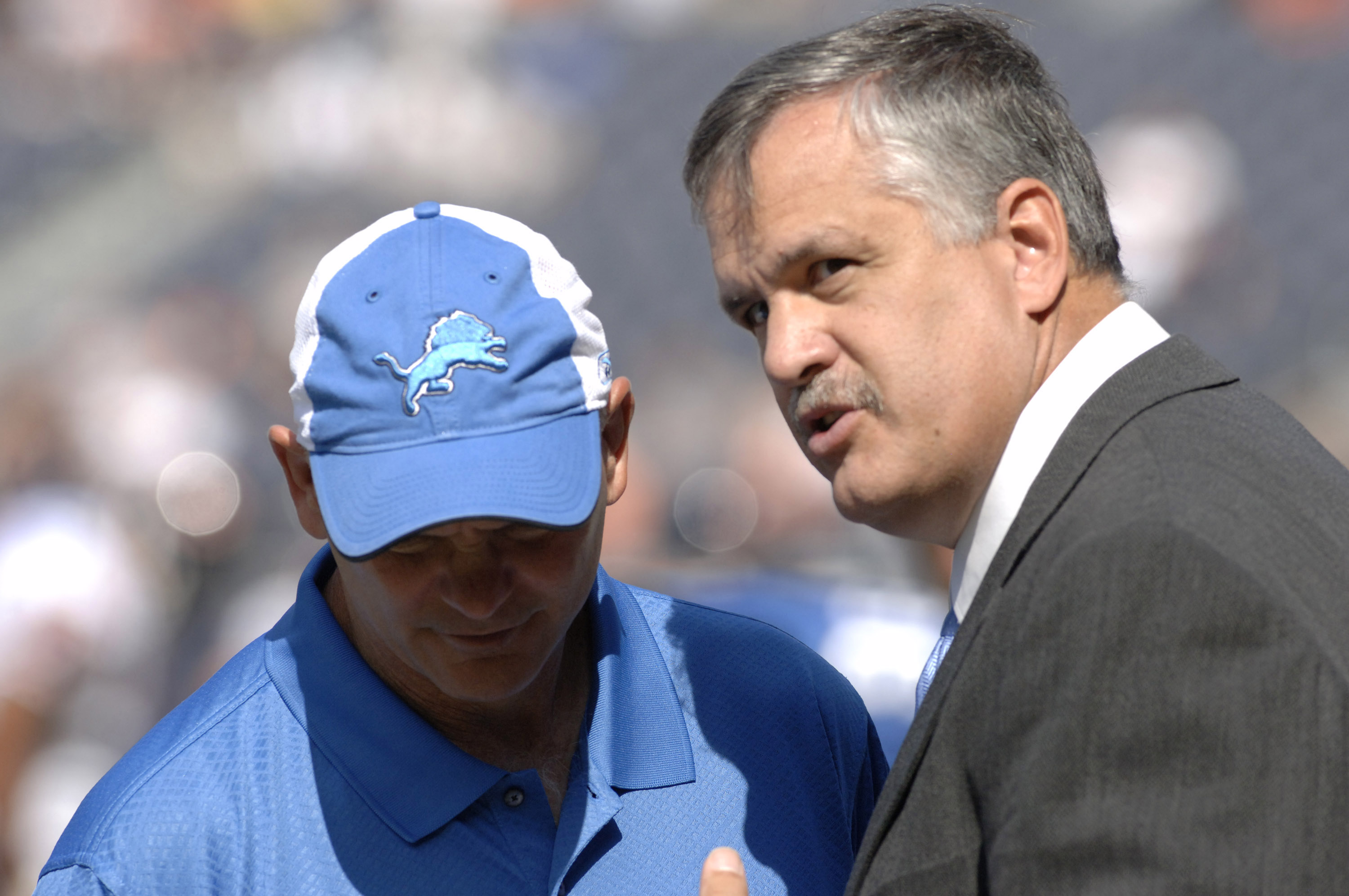 Detroit Lions president Matt Millen with coach Ron Marinelli on the sidelines during a game between the Chicago Bears and Detroit Lions at Soldier Field in Chicago, Illinois on September 17, 2006.  The Bears won 34 - 7.  (Photo by Al Messerschmidt/Getty I