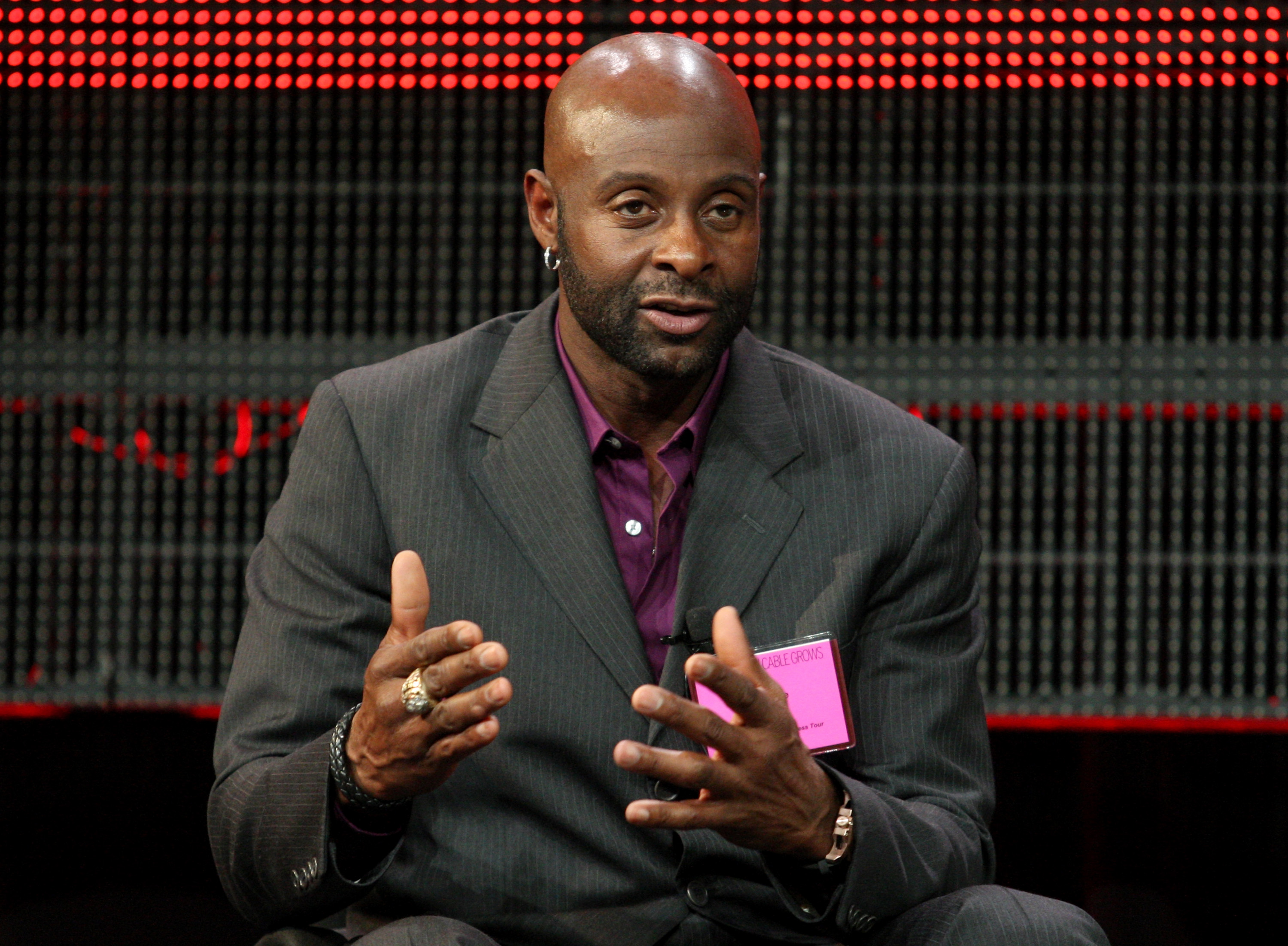 PASADENA, CA - JANUARY 05:  NFL Hall of Famer Jerry Rice speaks onstage during the 'Year of the Quarterback' panel at the ESPN portion of the 2011 Winter TCA press tour held at the Langham Hotel on January 5, 2011 in Pasadena, California.  (Photo by Frede