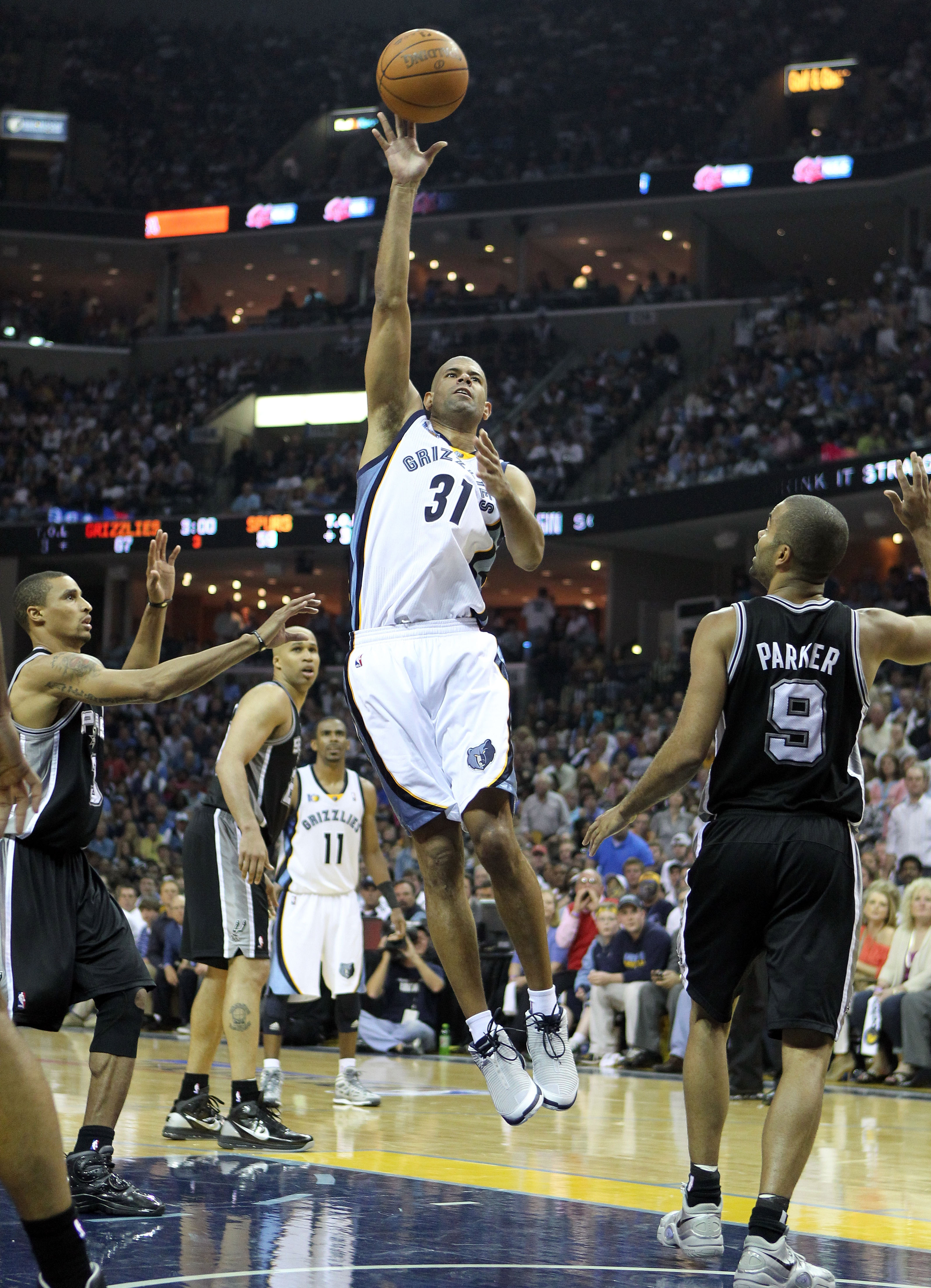 MEMPHIS, TN - APRIL 23: Shane Battier #31 of the  Memphis Grizzlies shoots the ball during the game against the San Antonio Spurs in Game three of the Western Conference Quarterfinals in the 2011 NBA Playoffs at FedExForum on April 23, 2011 in Memphis, Te