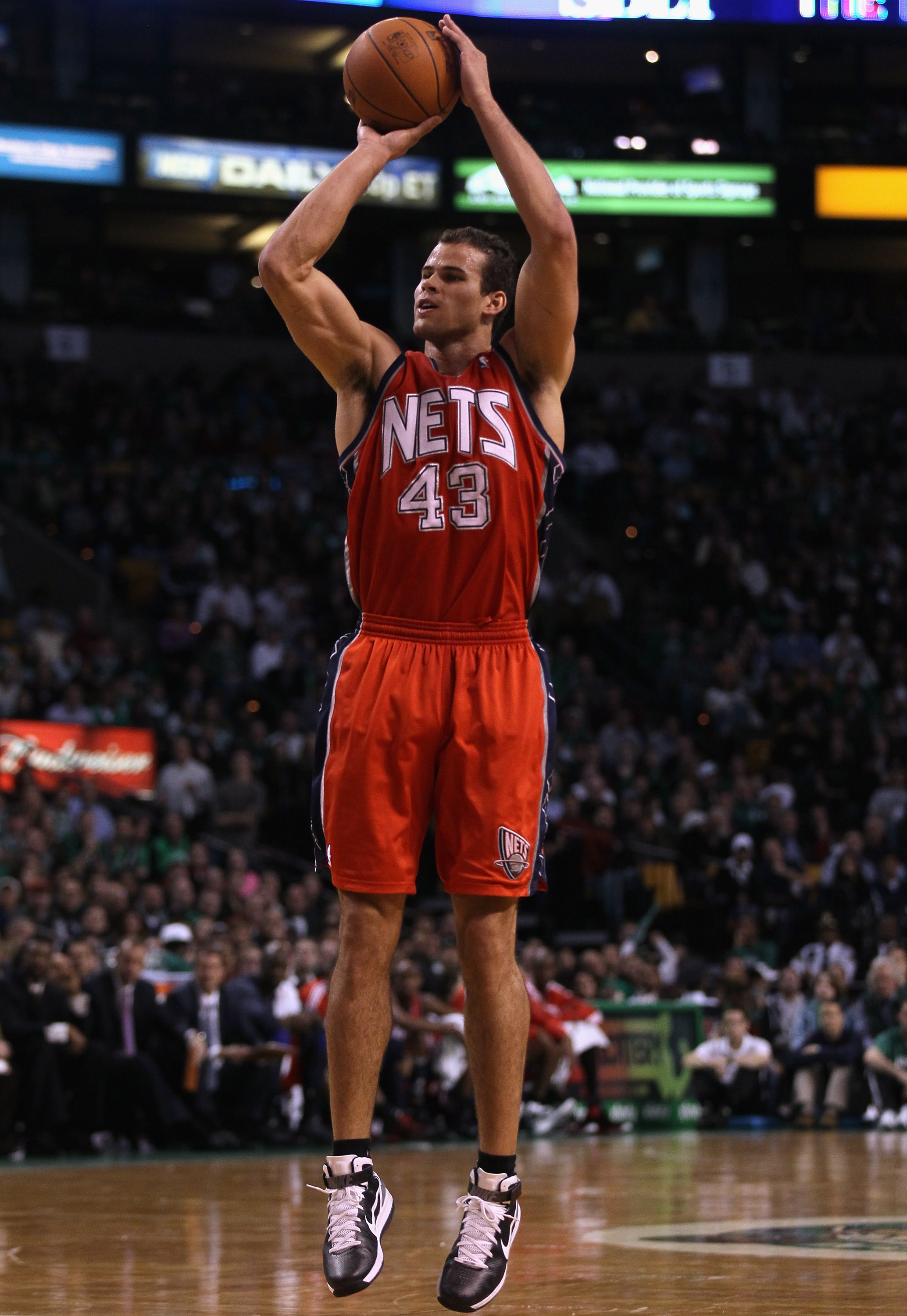 BOSTON - NOVEMBER 24:  Kris Humphries #43 of the New Jersey Nets takes a shot in the second half against the Boston Celtics on November 24, 2010 at the TD Garden in Boston, Massachusetts. The Celtics defeated the nets 89-83. NOTE TO USER: User expressly a