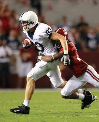 TUSCALOOSA, AL - SEPTEMBER 11:  Brett Brackett #83 of the Penn State Nittany Lions against Robert Lester #37 of the Alabama Crimson Tide at Bryant-Denny Stadium on September 11, 2010 in Tuscaloosa, Alabama.  (Photo by Kevin C. Cox/Getty Images)