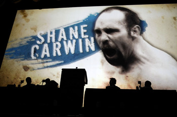 NEW YORK - MARCH 24:  UFC fighter Shane Carwin of Denver, Colorado appears on a giant screen at a press conference for UFC 111 at Radio City Music Hall on March 24, 2010 in New York City.  The fights will be held in Newark, New Jersey and fans will be abl