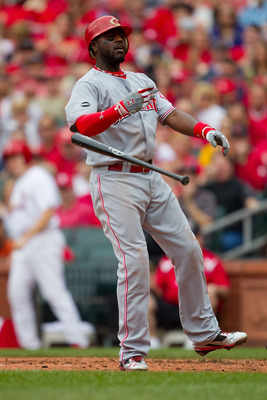 ST. LOUIS, MO - APRIL 23: Brandon Phillips #4 of the Cincinnati Reds reacts to striking out against the St. Louis Cardinals at Busch Stadium on April 23, 2011 in St. Louis, Missouri.  (Photo by Dilip Vishwanat/Getty Images)