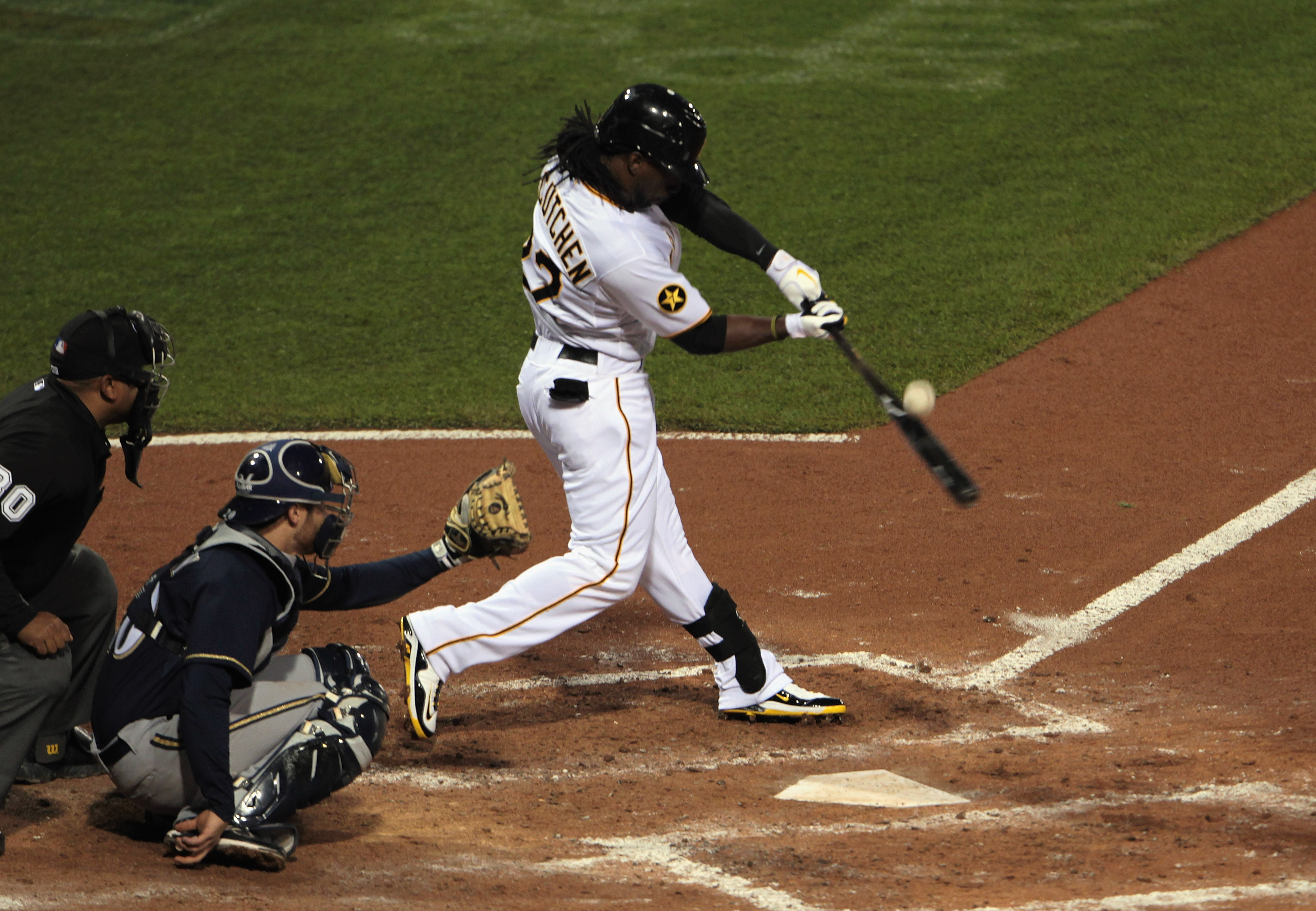 PITTSBURGH, PA - APRIL 14:  Andrew McCutchen #22 of the Pittsburgh Pirates takes a swing against the Milwaukee Brewers at PNC Park on April 14, 2011 in Pittsburgh, Pennsylvania.  (Photo by Scott Halleran/Getty Images)