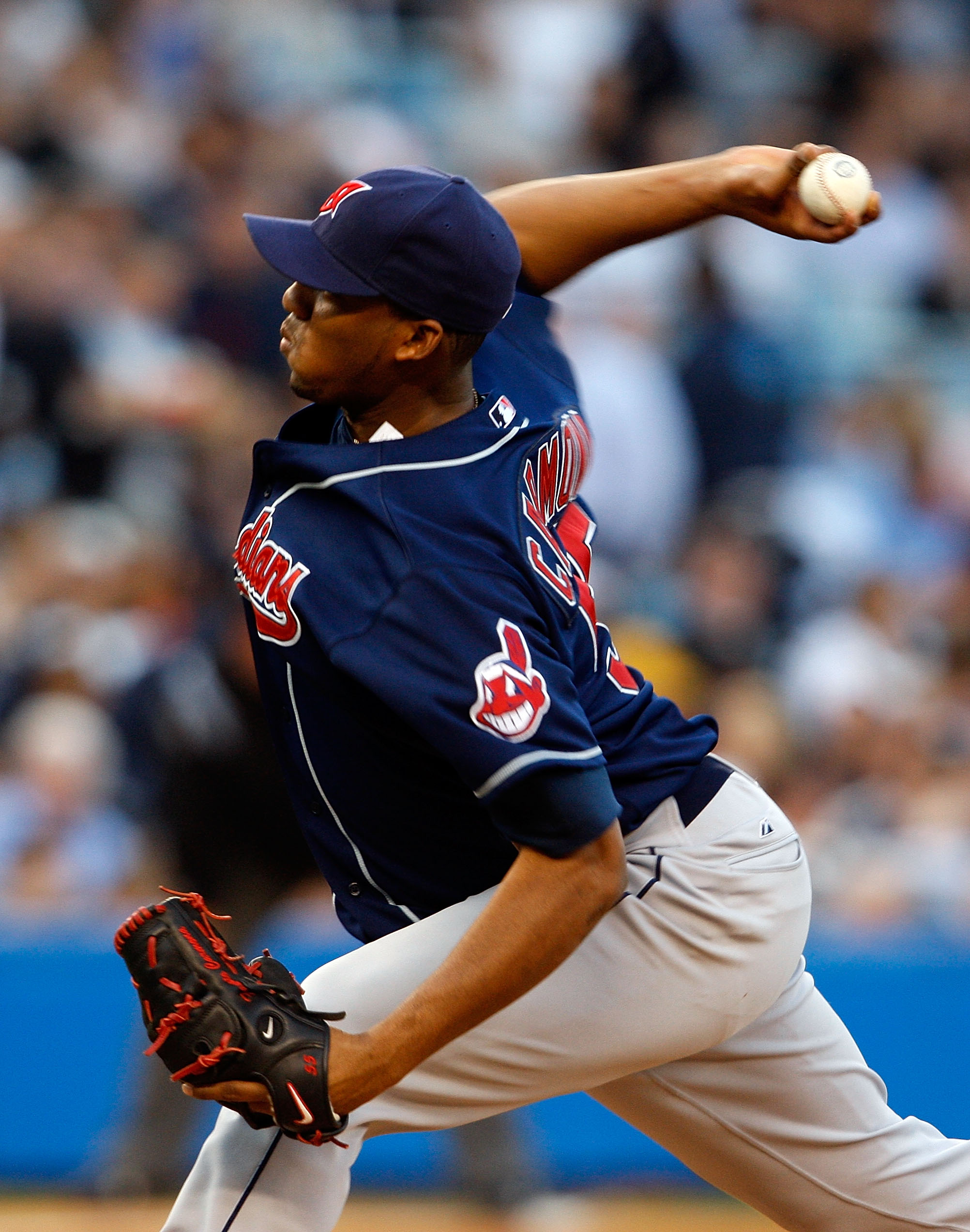NEW YORK - MAY 06: Fausto Carmona #55 of the Cleveland Indians pitches against the New York Yankees on May 6, 2008 at Yankee Stadium in the Bronx borough of New York City.  (Photo by Nick Laham/Getty Images)