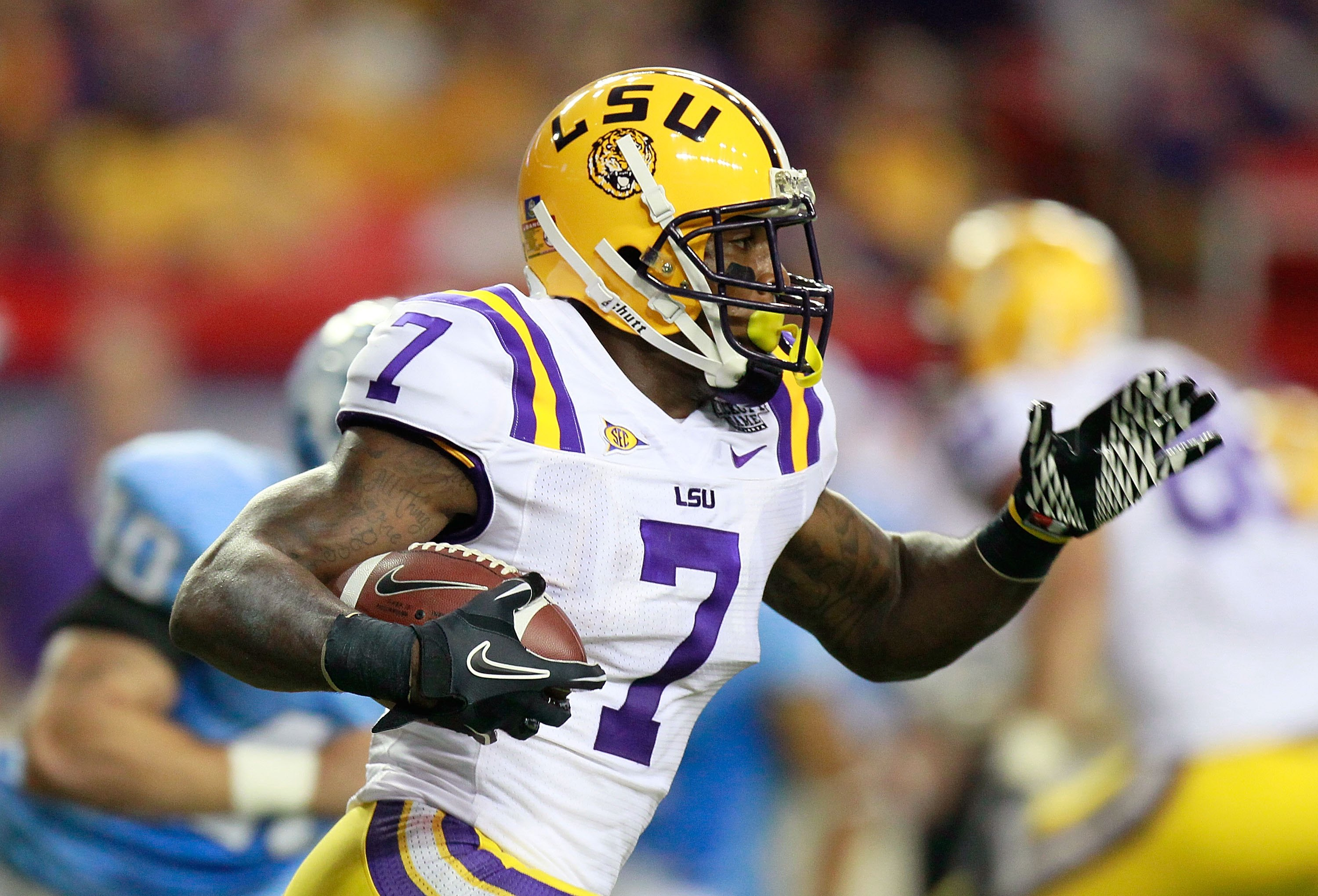 ATLANTA - SEPTEMBER 04:  Patrick Peterson #7 of the LSU Tigers against of the North Carolina Tar Heels during the Chick-fil-A Kickoff Game at Georgia Dome on September 4, 2010 in Atlanta, Georgia.  (Photo by Kevin C. Cox/Getty Images)