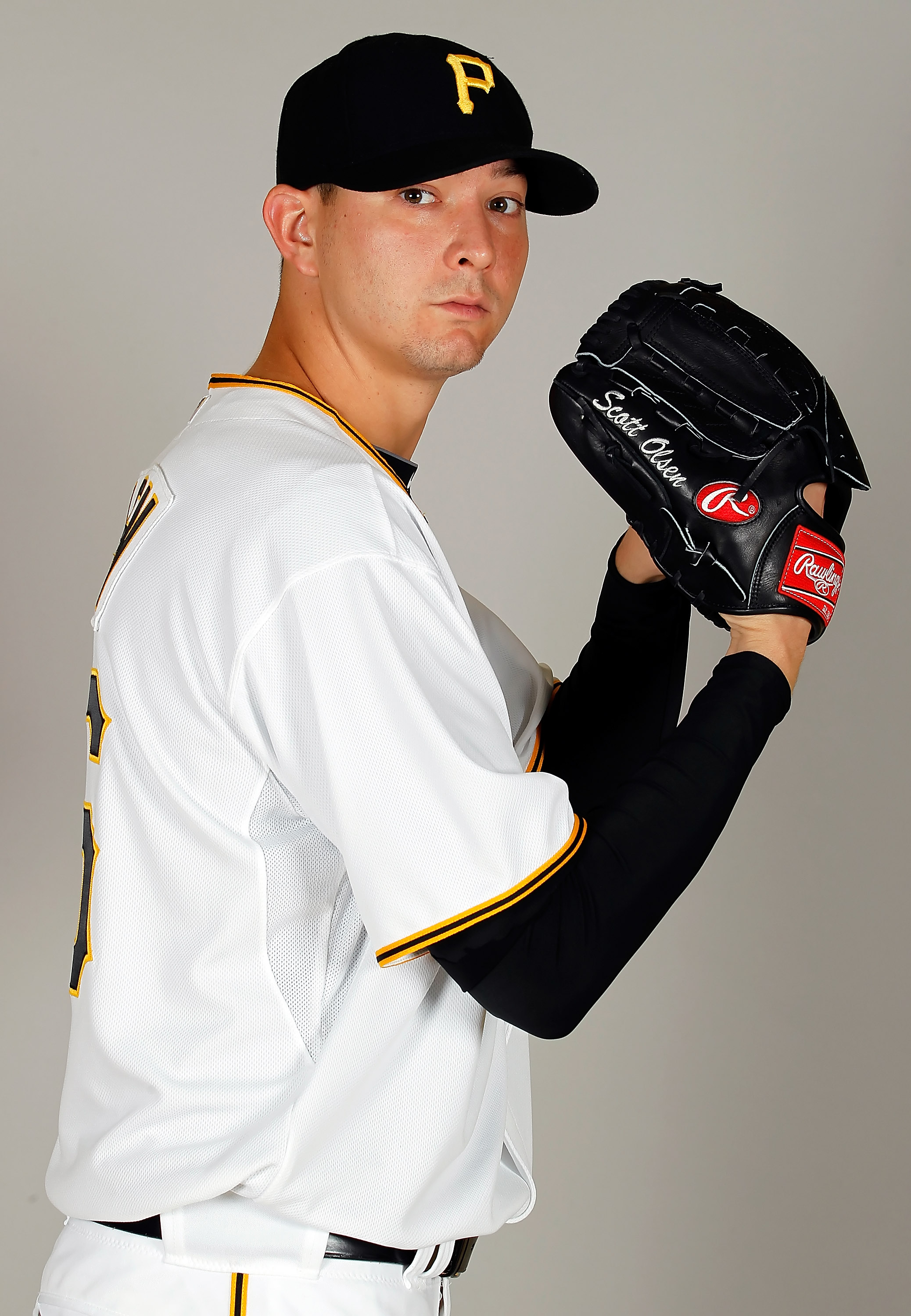 BRADENTON, FL - FEBRUARY 20:  Pitcher Scott Olsen #26 of the Pittsburgh Pirates poses for a photo during photo day at Pirate City on February 20, 2011 in Bradenton, Florida.  (Photo by J. Meric/Getty Images)