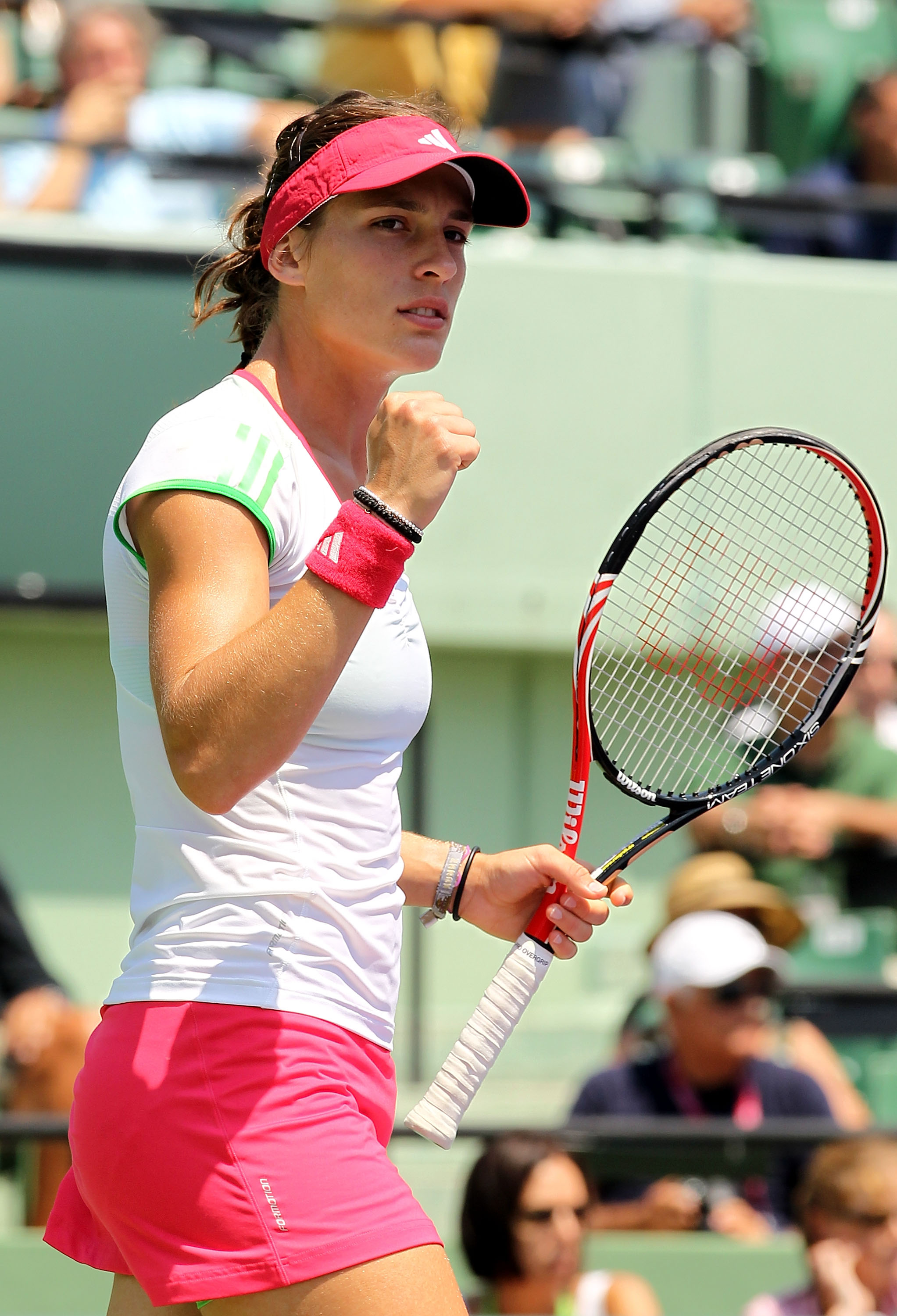 KEY BISCAYNE, FL - MARCH 31:  Andrea Petkovic of Germany reacts after she won the first set against Maria Sharapova of Russia during their women's semifinal match at the Sony Ericsson Open at Crandon Park Tennis Center on March 31, 2011 in Key Biscayne, F