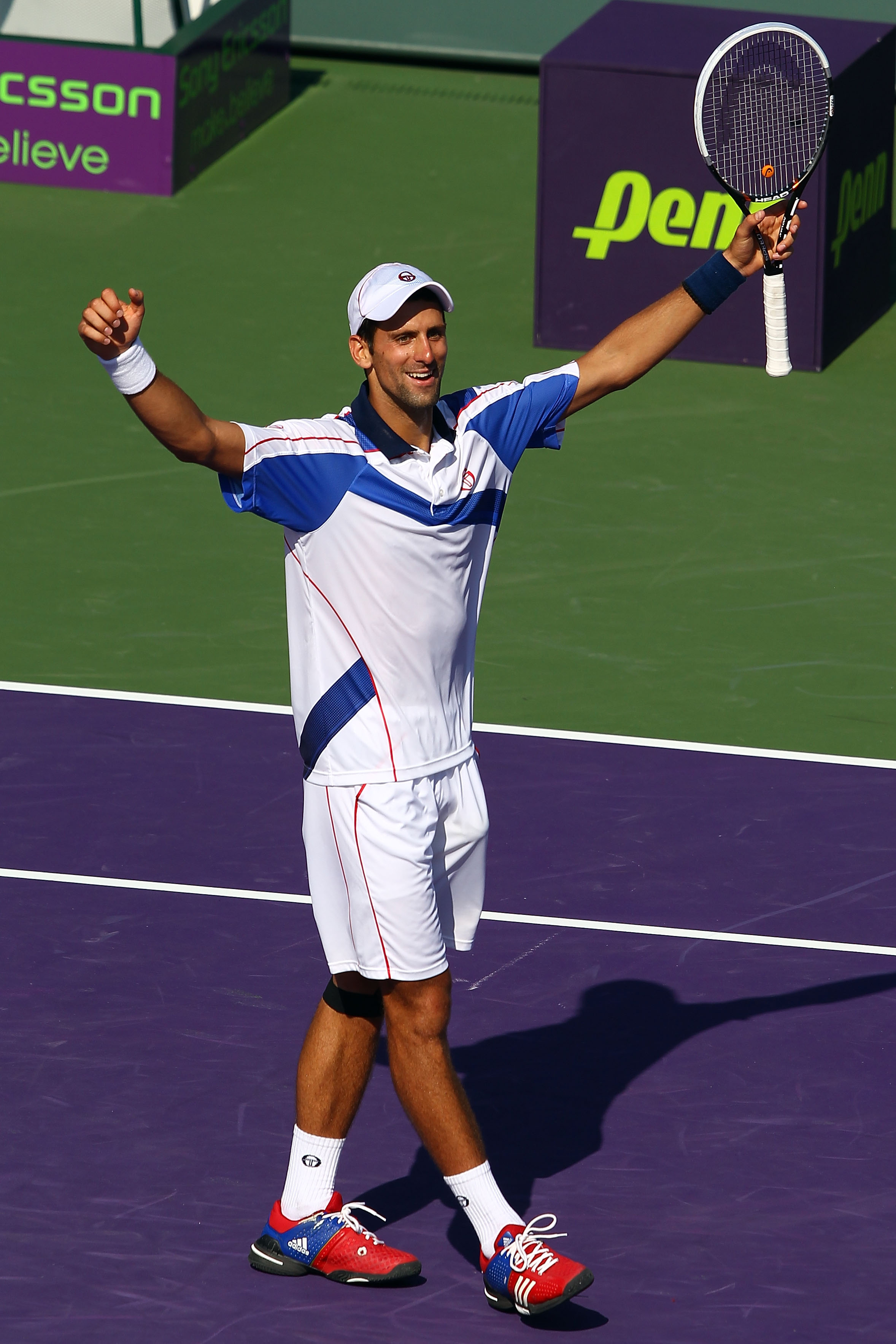 KEY BISCAYNE, FL - APRIL 03:  Novak Djokovic of Serbia celebrates after he won match point against Rafael Nadal of Spain during the men's singles championship at the Sony Ericsson Open at Crandon Park Tennis Center on April 3, 2011 in Key Biscayne, Florid