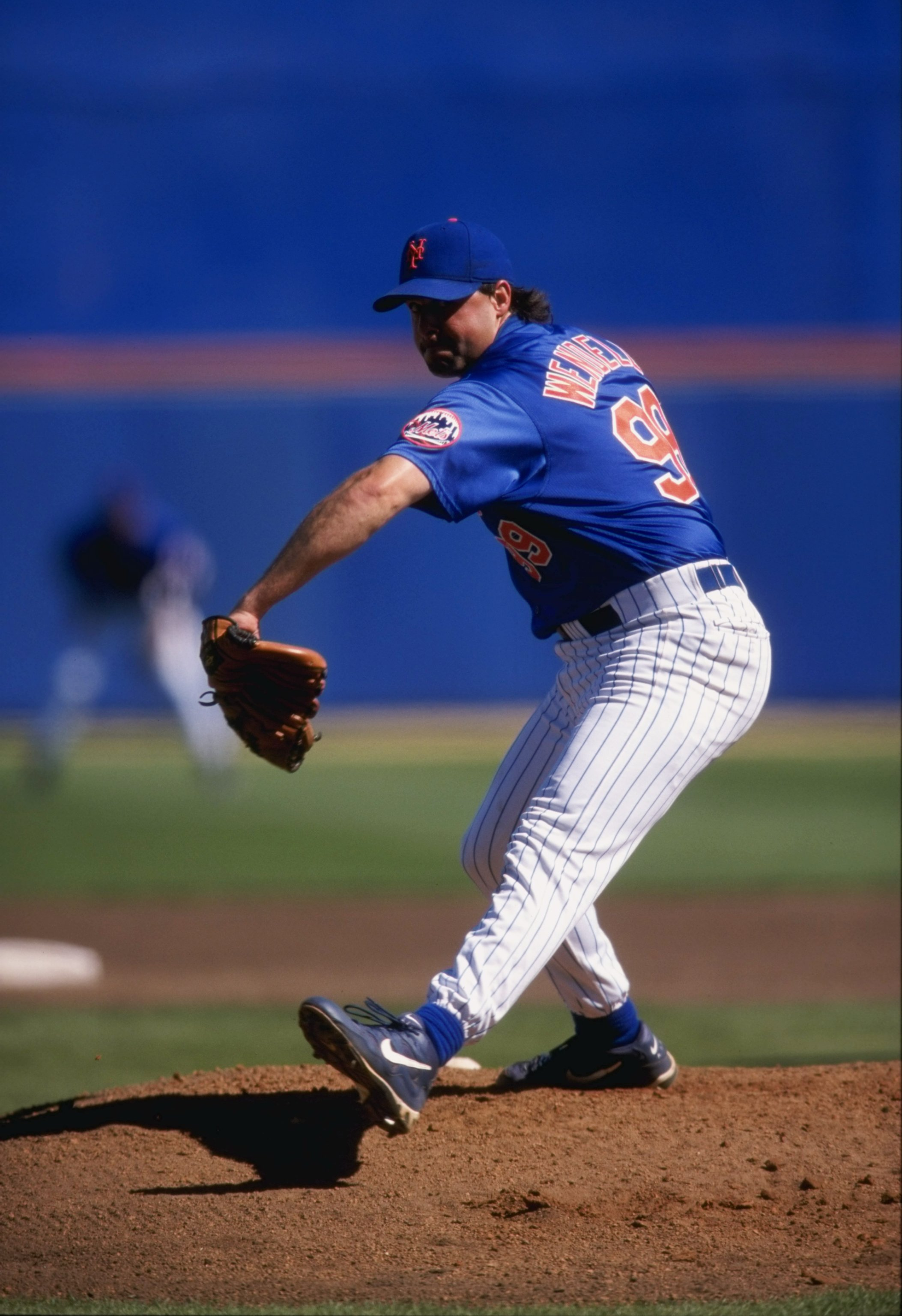 4 Mar 1998:  Pitcher Turk Wendell of the New York Mets in action during a spring training game against the Los Angeles Dodgers at the St. Lucie County Stadium in Port St. Lucie, Florida. The Dodgers defeated the Mets 7-6. Mandatory Credit: Stephen Dunn  /